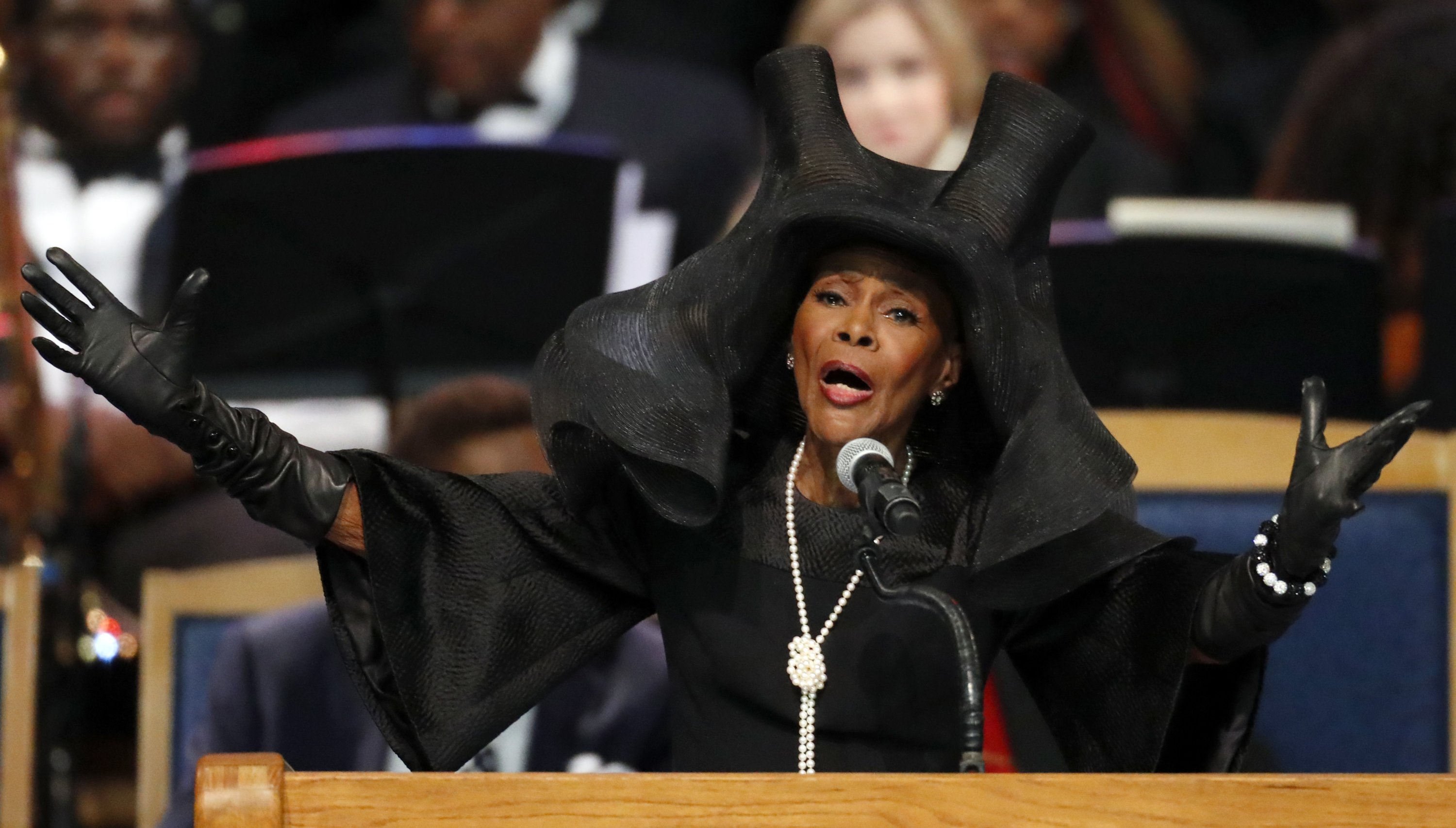 Cicely Tyson speaks during the funeral service for Aretha Franklin at Greater Grace Temple, in Detroit, Michigan, U.S., Aug. 31, 2018. (AP Photo)