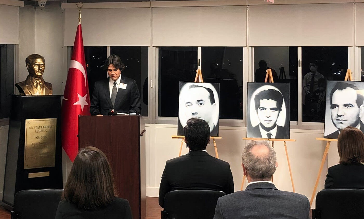 A commemoration ceremony for the Turkish diplomats who were killed by Armenian terrorists in Los Angeles, California, U.S., Jan. 28, 2021. (AA Photo)