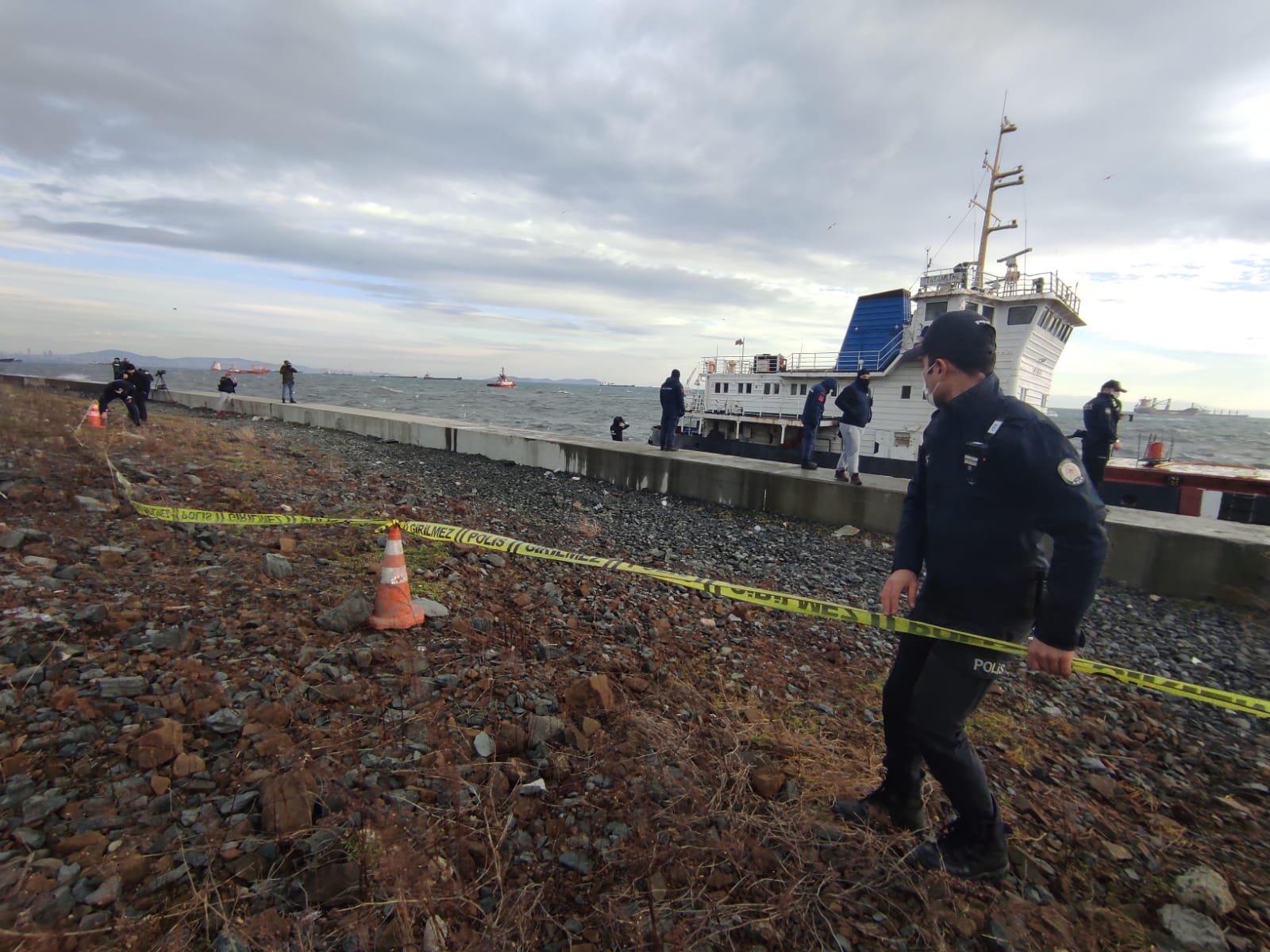 A cargo ship ran aground in the Marmara Sea in the Zeytinburnu district of Istanbul, Turkey, Jan. 29, 2021. (DHA Photo)