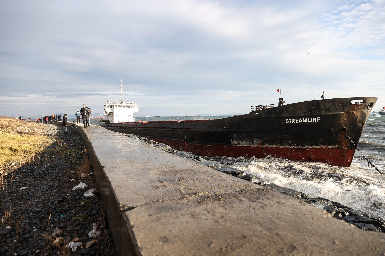 A cargo ship ran aground in the Marmara Sea in the Zeytinburnu district of Istanbul, Turkey, Jan. 29, 2021. (AA Photo)