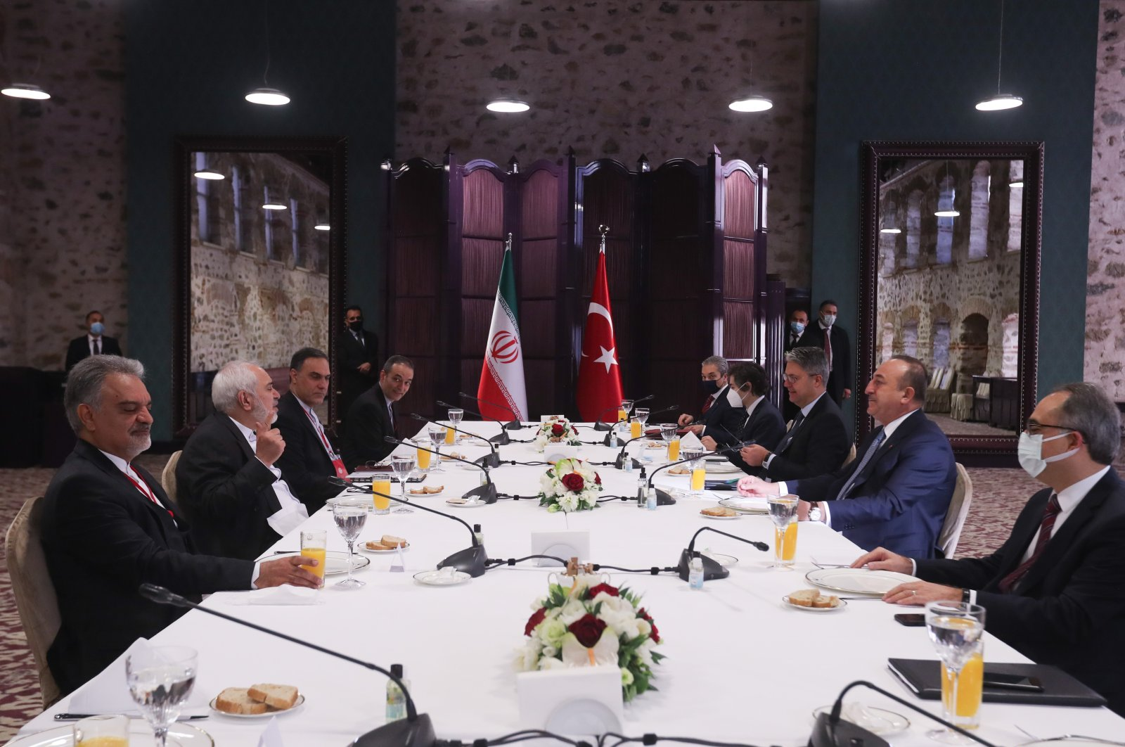Turkish and Iranian delegations led by Foreign Minister Mevlüt Çavuşoğlu and Foreign Minister Javad Zarif attend a meeting in Dolmabahçe Office, Istanbul, Jan. 29, 2021. (AA Photo)
