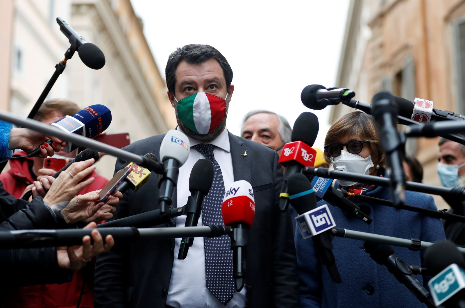 Leader of Italy's far-right League party Matteo Salvini speaks to the media on the second day of consultations between Italy's President Sergio Mattarella and political parties to try and find the basis for a new government, Rome, Italy, Jan. 28, 2021. (Reuters Photo)