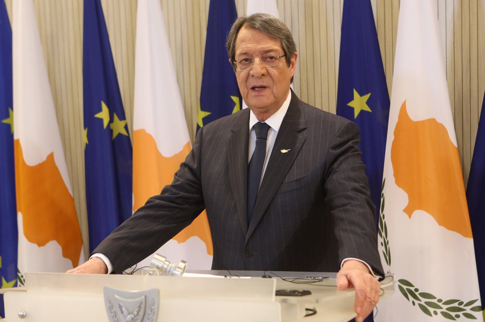 Greek Cypriot President Nicos Anastasiades delivers an address on corruption at the Presidential Palace in Lefkoşa (Nicosia), Cyprus Jan. 28, 2021. (Reuters Photo)