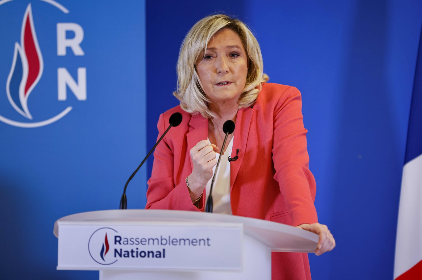 "Head of far-right party Rassemblement National (RN) Marine Le Pen addresses a press conference to present a ""counter-project"" to the government's proposed law against ""separatism"", at the party headquarters in Nanterre, near Paris, on January 29, 2021. (AFP Photo)"