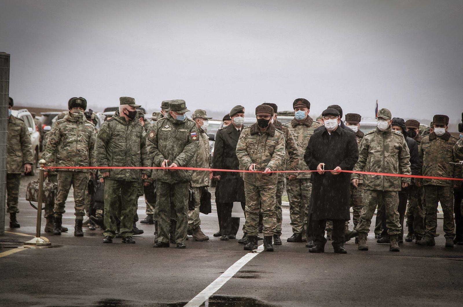 The opening of the Turkish-Russian joint monitoring center in Nagorno-Karabakh on Jan. 30, 2021. (AA Photo)
