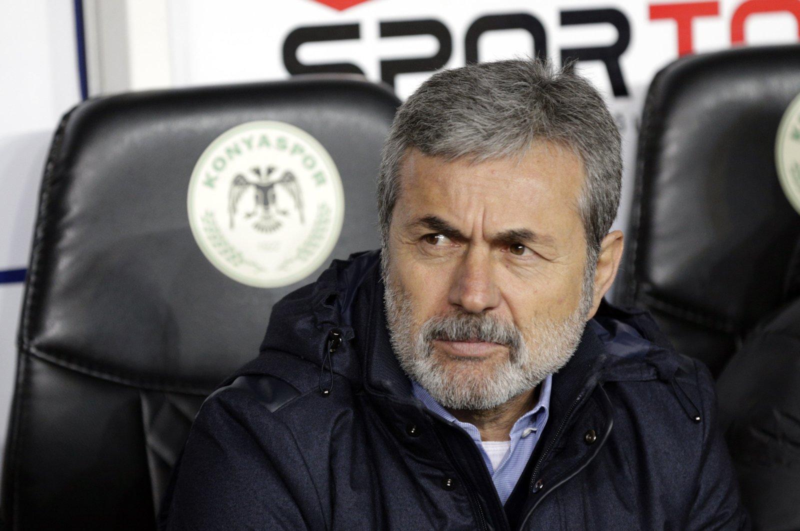 Aykut Kocaman sits at bench in Konyaspor's game against Galatasaray, central Konya province, Jan. 28, 2020. (AA Photo)
