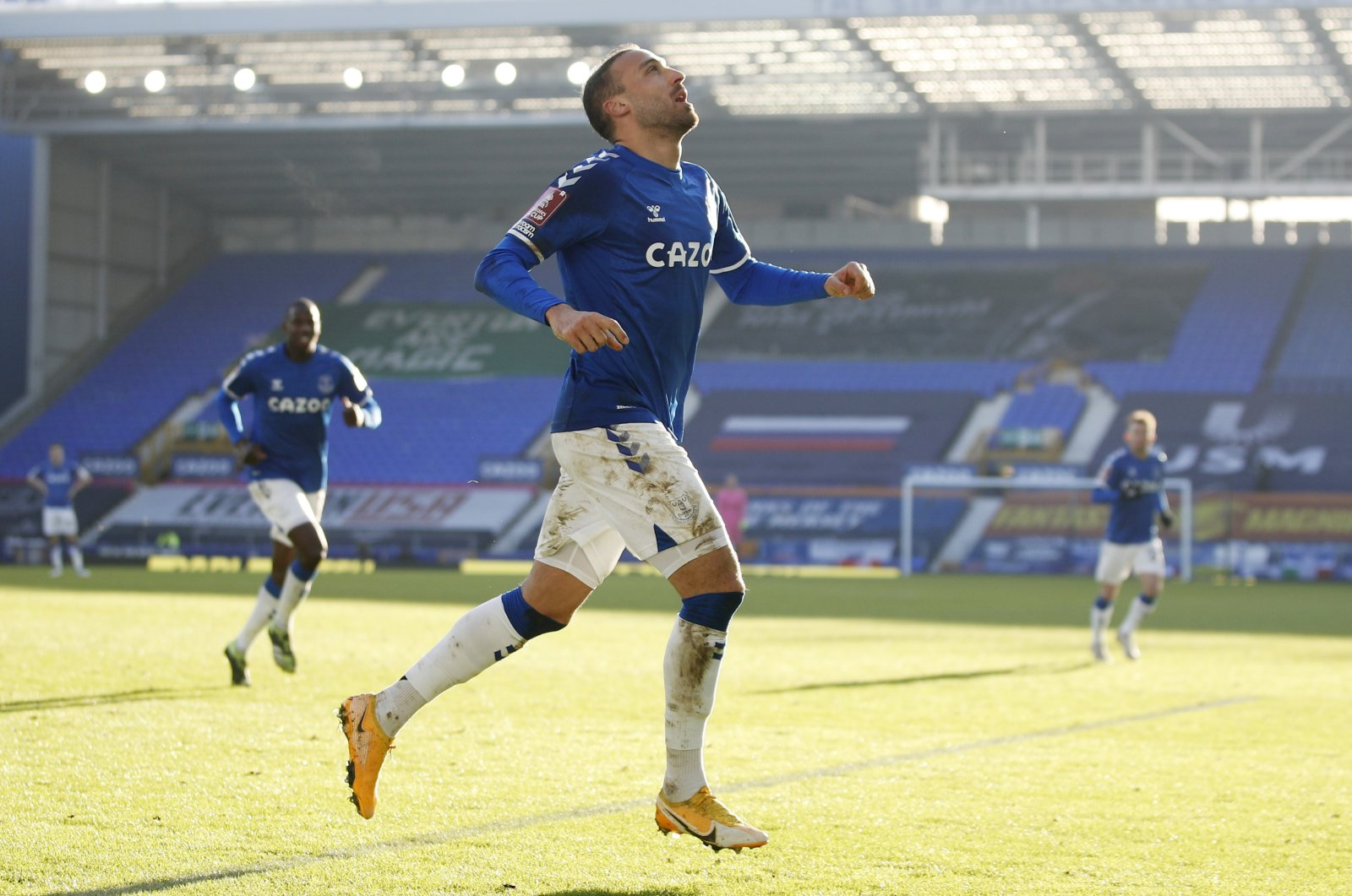 Everton's Cenk Tosun celebrates scoring a goal that is later disallowed during FA Cup Third Round match against Rotherham United at Goodison Park, Liverpool, Britain, Jan. 9, 2021. (Reuters Photo)
