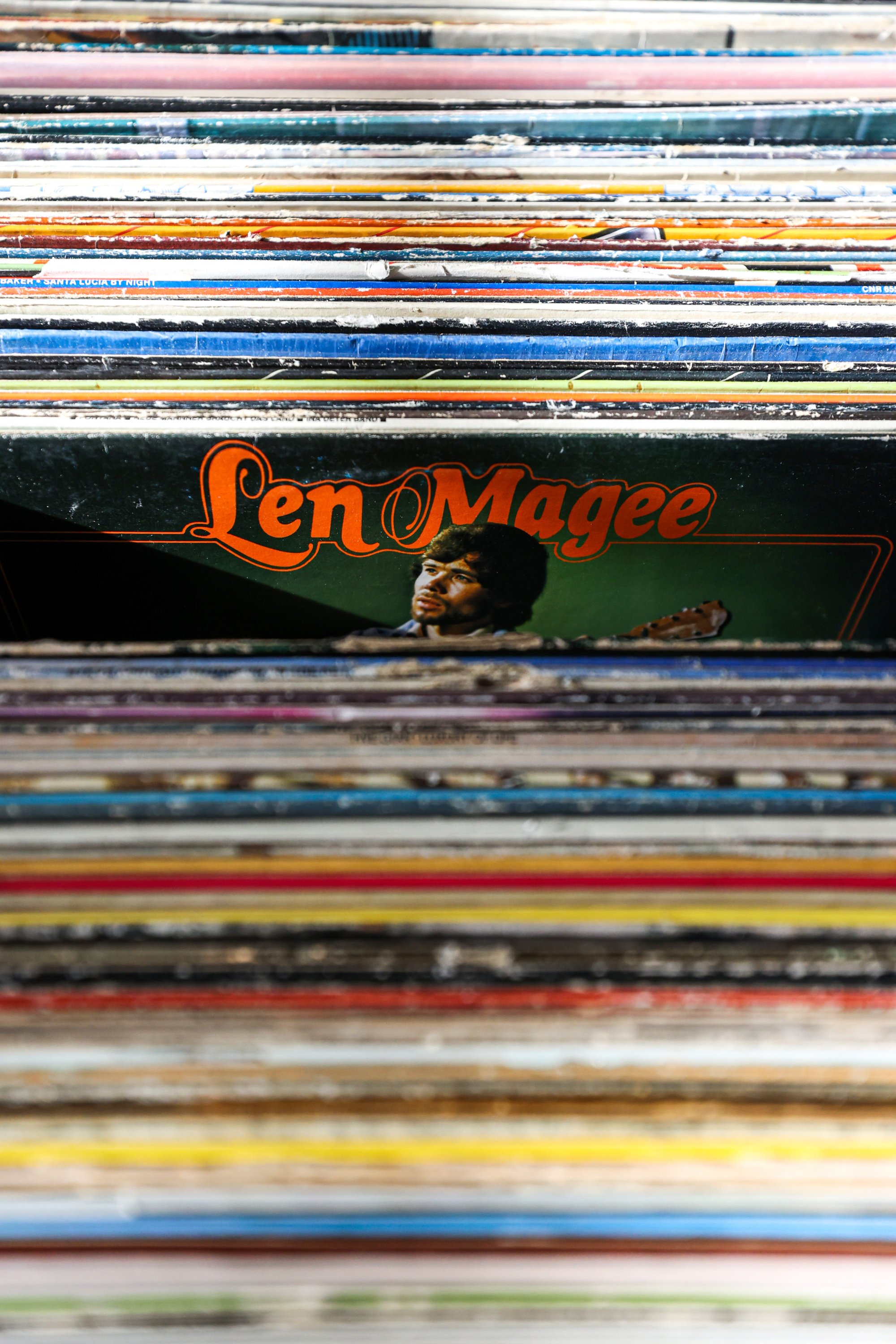 An album of Austalian singer Len Magee can be seen among several other vinyl records, Istanbul, Turkey, Jan. 28, 2021. (AA Photo)
