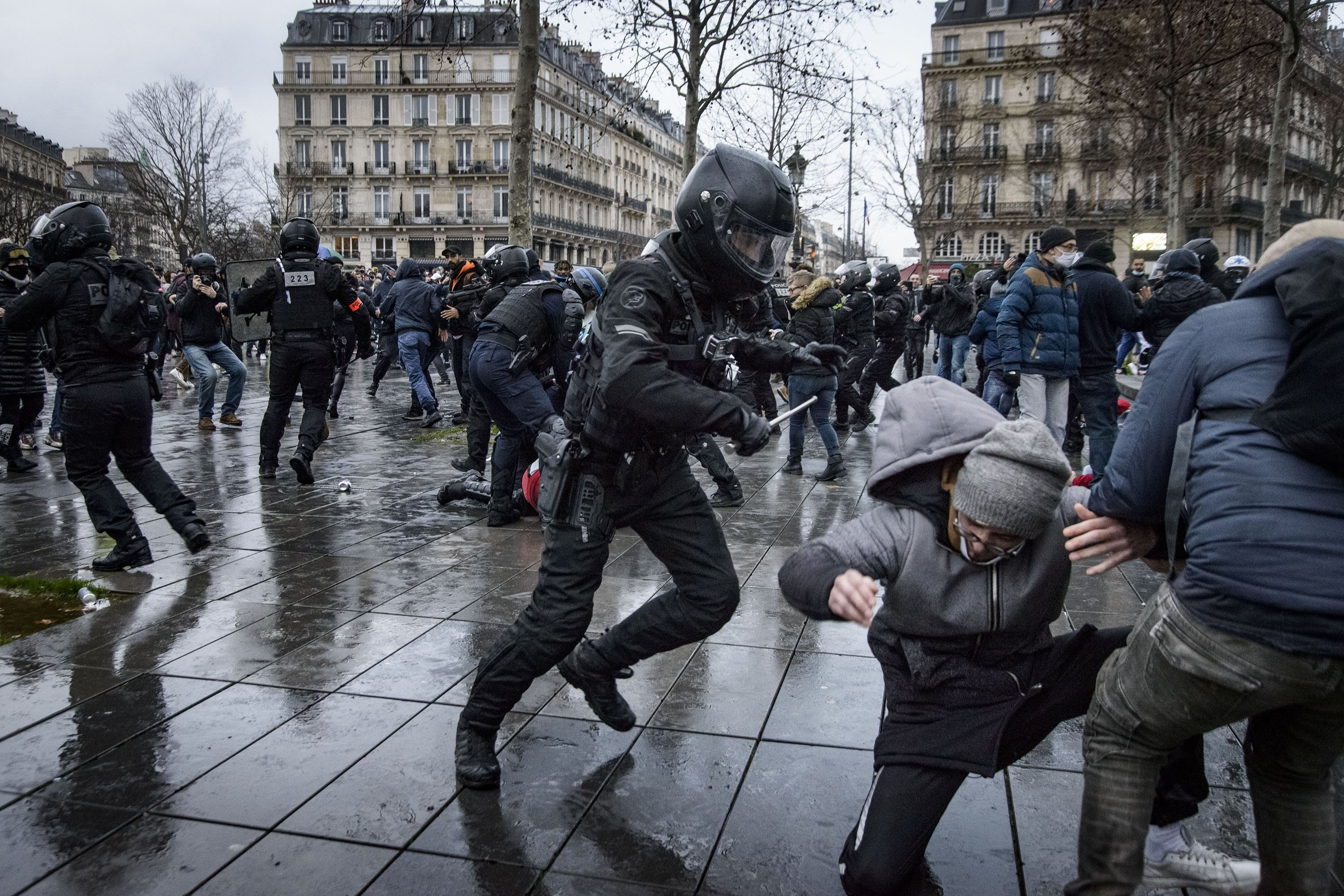 Police violence in France as protests over security bill continue   Daily  Sabah