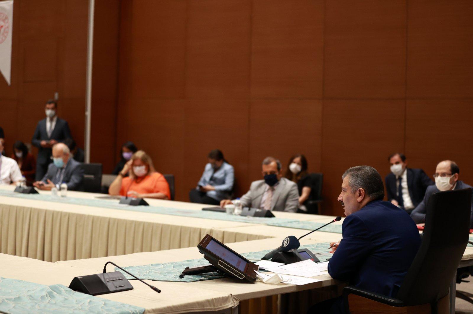 Health Minister Fahrettin Koca speaks after a meeting of the Coronavirus Scientific Advisory Board, in the capital Ankara, Turkey, July 30, 2020. (AA PHOTO)