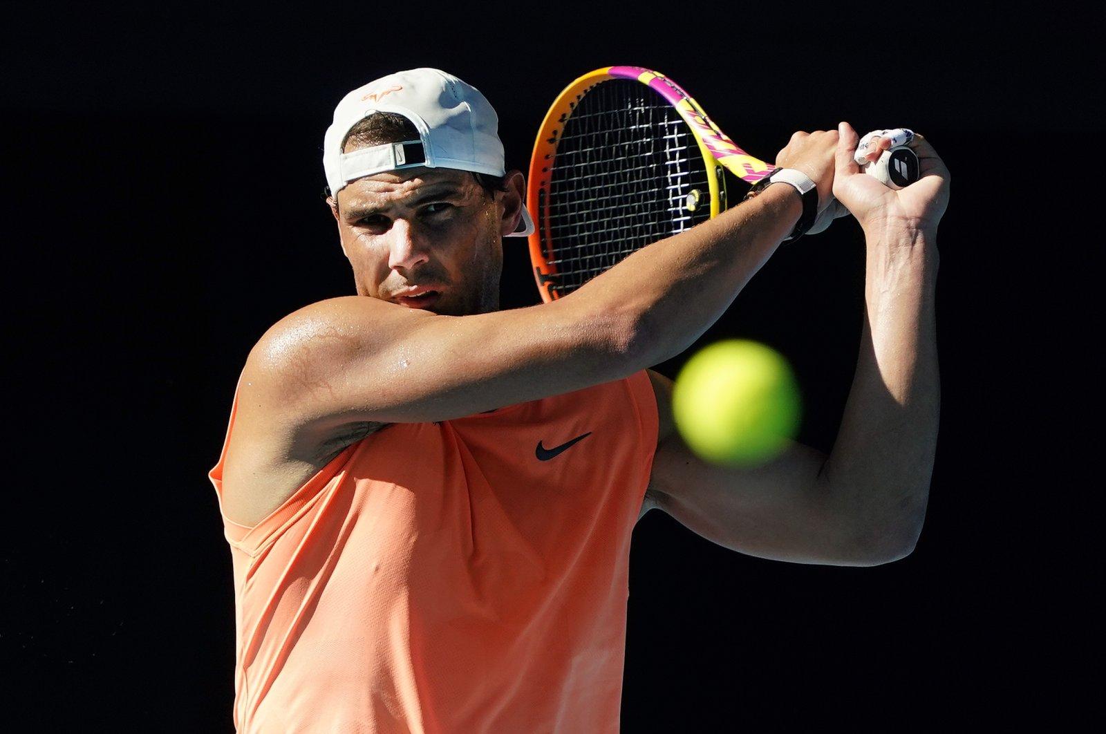 Spain's Rafael Nadal attends a practice session at Melbourne Park, Melbourne, Australia, Jan. 31, 2021. (EPA Photo)