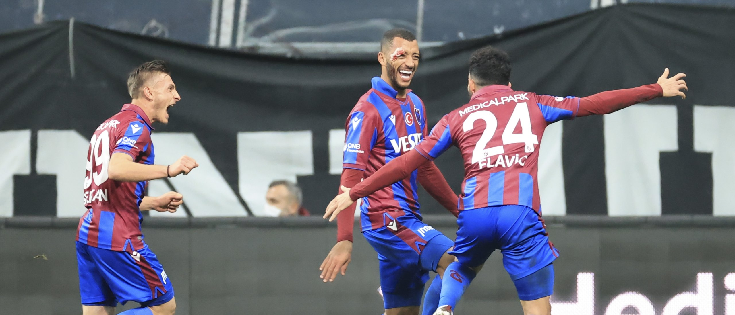 Trabzonspor defender Vitor Hugo (C) celebrates his match-winning goal against Beşiktaş with teammates at Vodafone Stadium, Istanbul, Turkey, Jan. 31, 2021. (AA Photo)