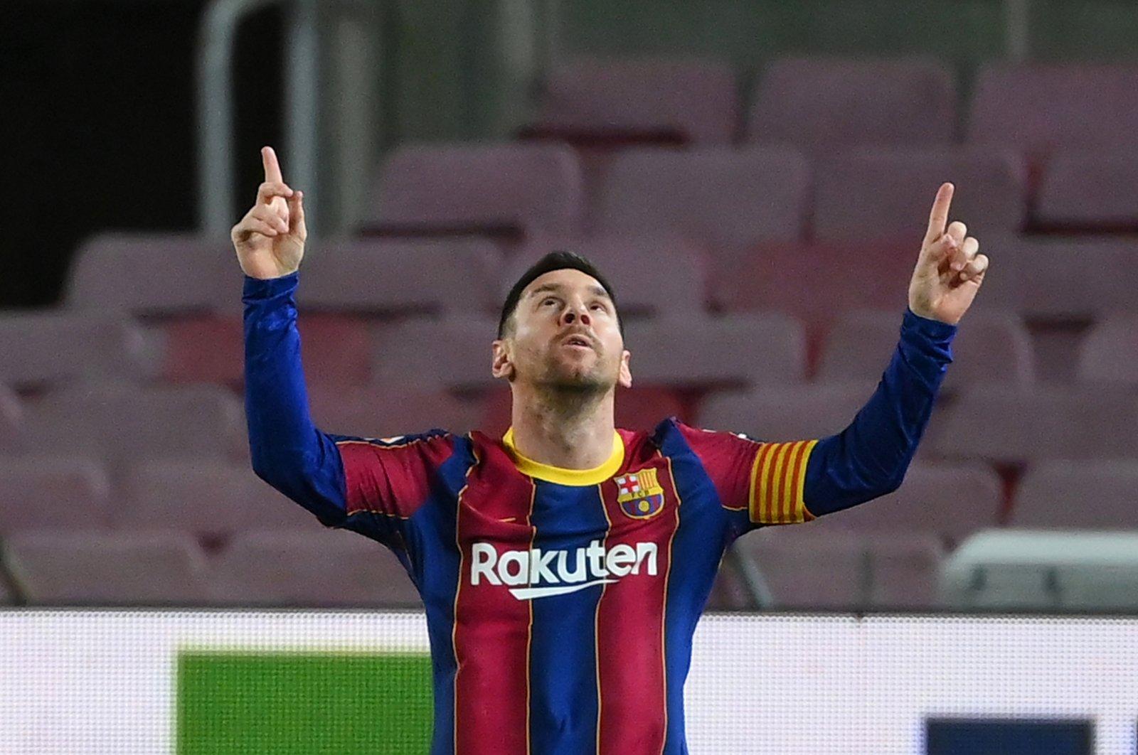 Barcelona forward Lionel Messi celebrates after scoring a goal against Athletic Club Bilbao at Camp Nou, Barcelona, Spain, Jan. 31, 2021. (AFP Photo)