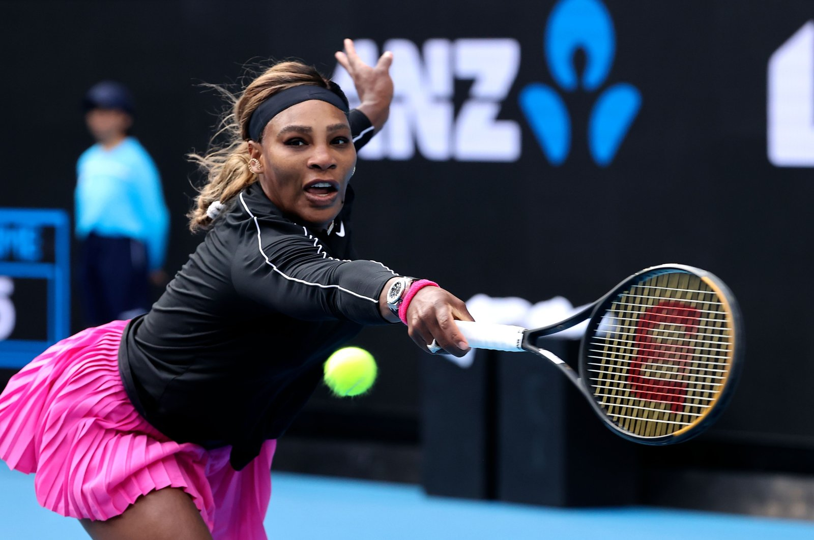 Serena Williams hits a return against Australia's Daria Gavrilova during their Yarra Valley Classic women's singles match, Melbourne, Australia, Feb. 1, 2021. (AFP Photo)