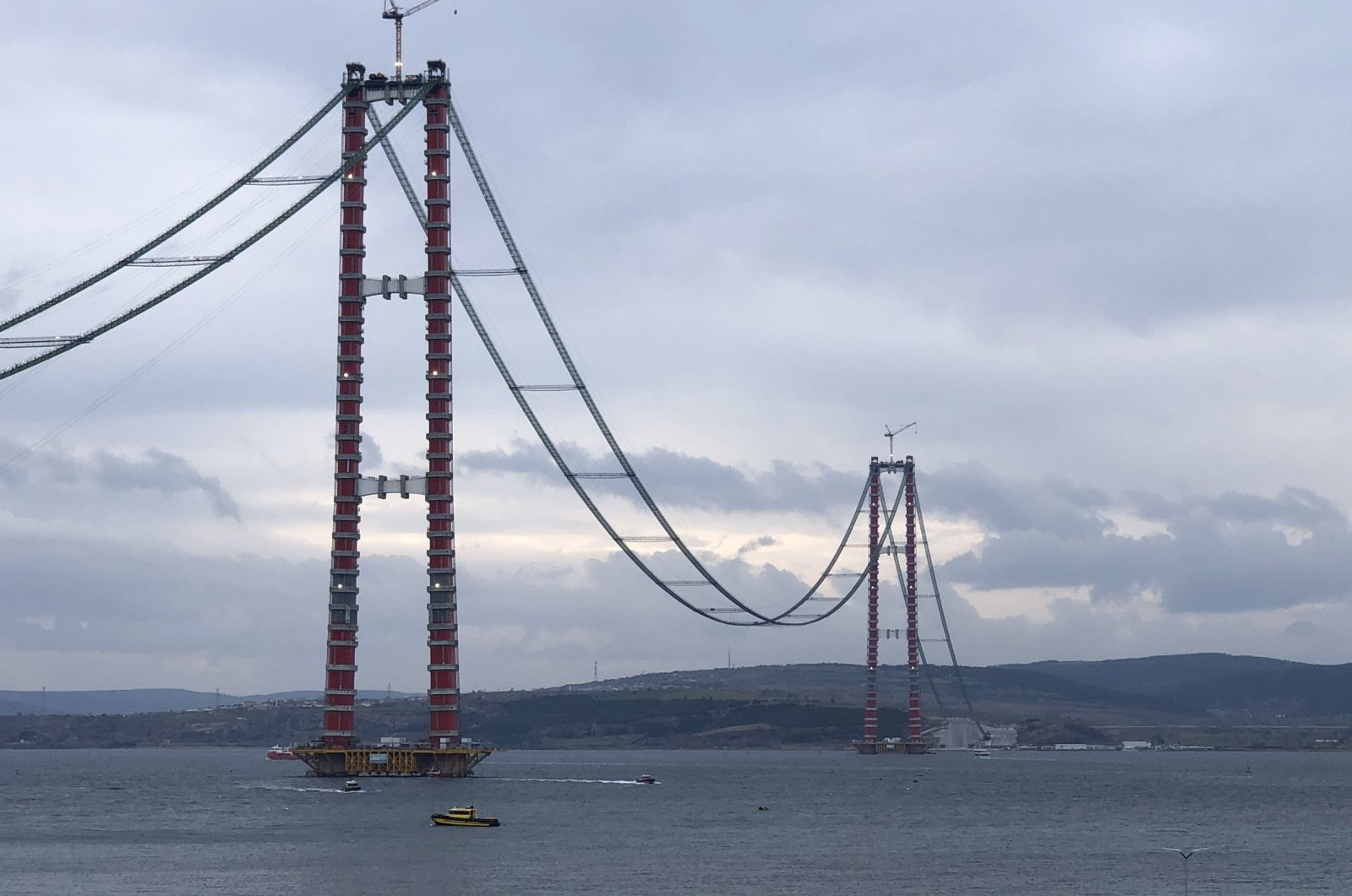 The Çanakkale Bridge, currently under construction, will connect Europe and Asia across the Dardanelles, in Çanakkale, northwestern Turkey Jan. 26, 2021. (Sabah Photo)