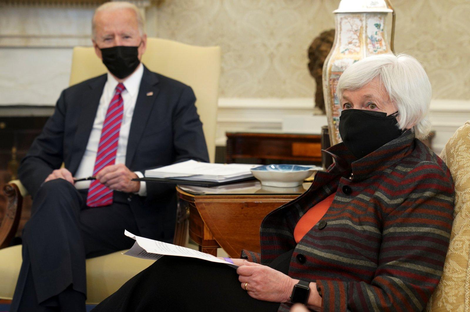 U.S. President Joe Biden meets with Treasury Secretary Janet Yellen in the Oval Office at the White House in Washington, U.S., Jan. 29, 2021. (Reuters Photo)