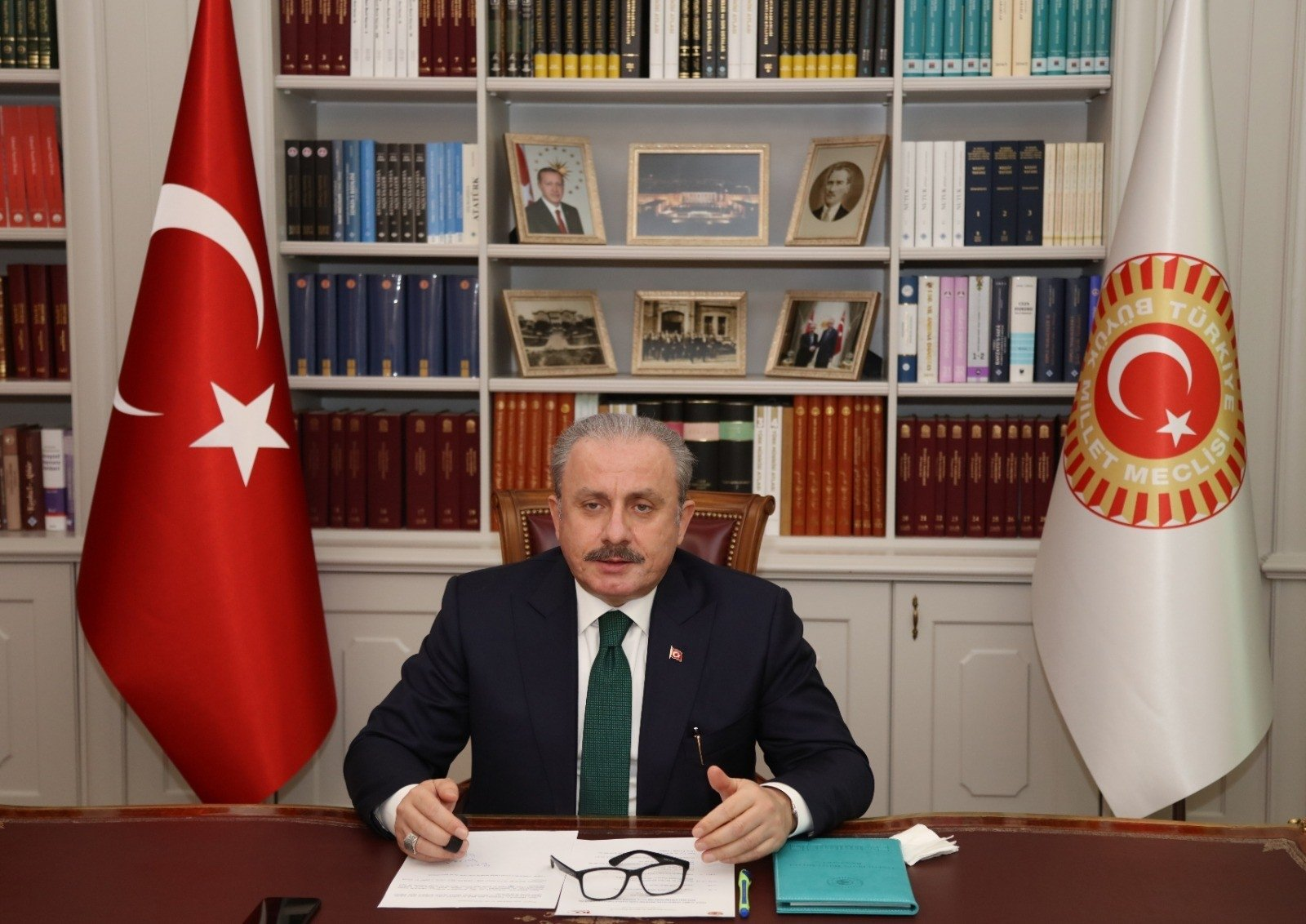 Turkish Parliamentary Speaker Mustafa Şentop speaks at the second-semester opening ceremony of Ahmet Yesevi University via teleconference in the capital Ankara on Jan. 26, 2021. (IHA Photo)