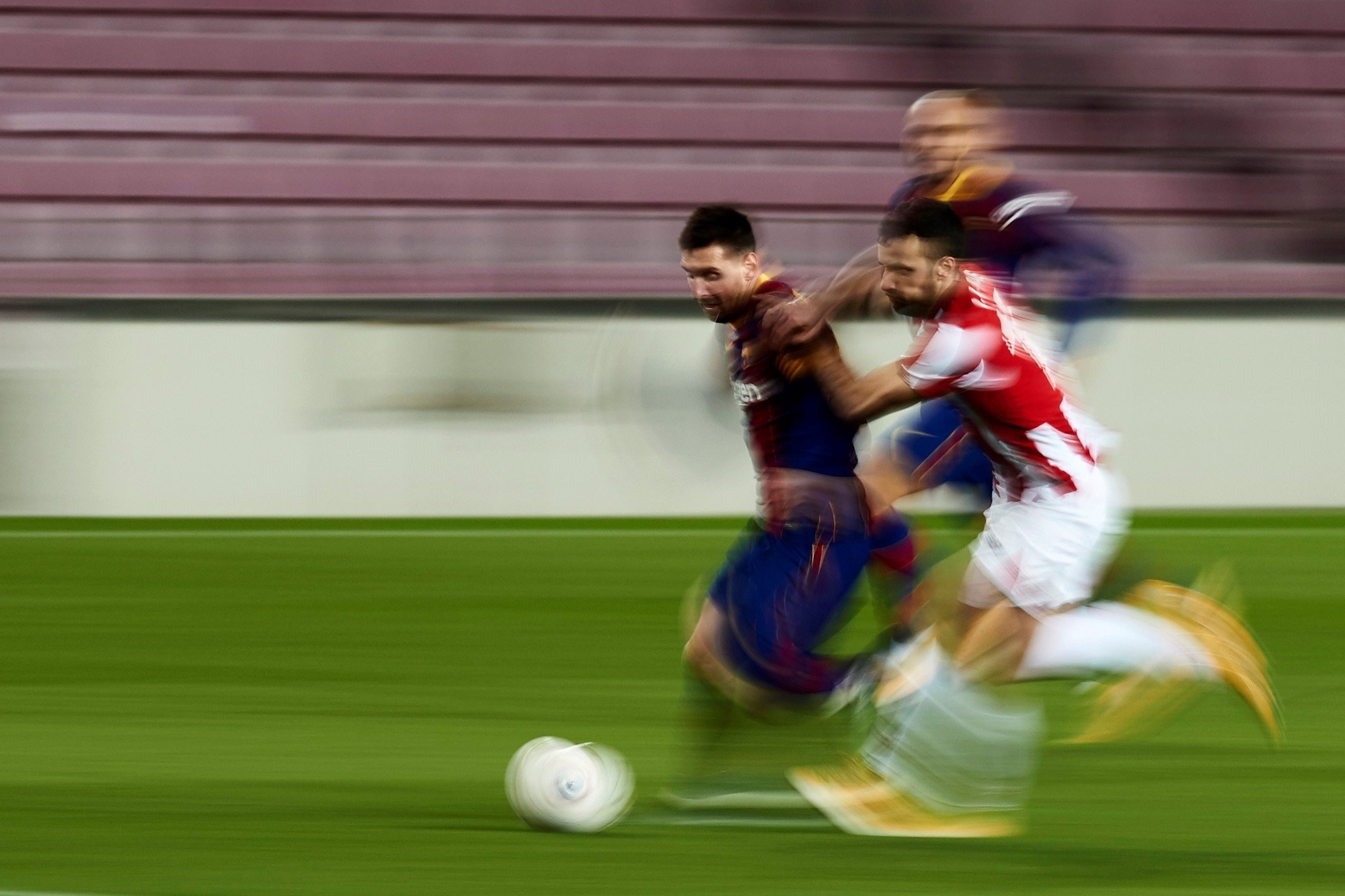 Barcelona forward Lionel Messi in action during a La Liga match against Athletic Club Bilbao at the Camp Nou, Barcelona, Jan. 31, 2021. (AFP Photo)