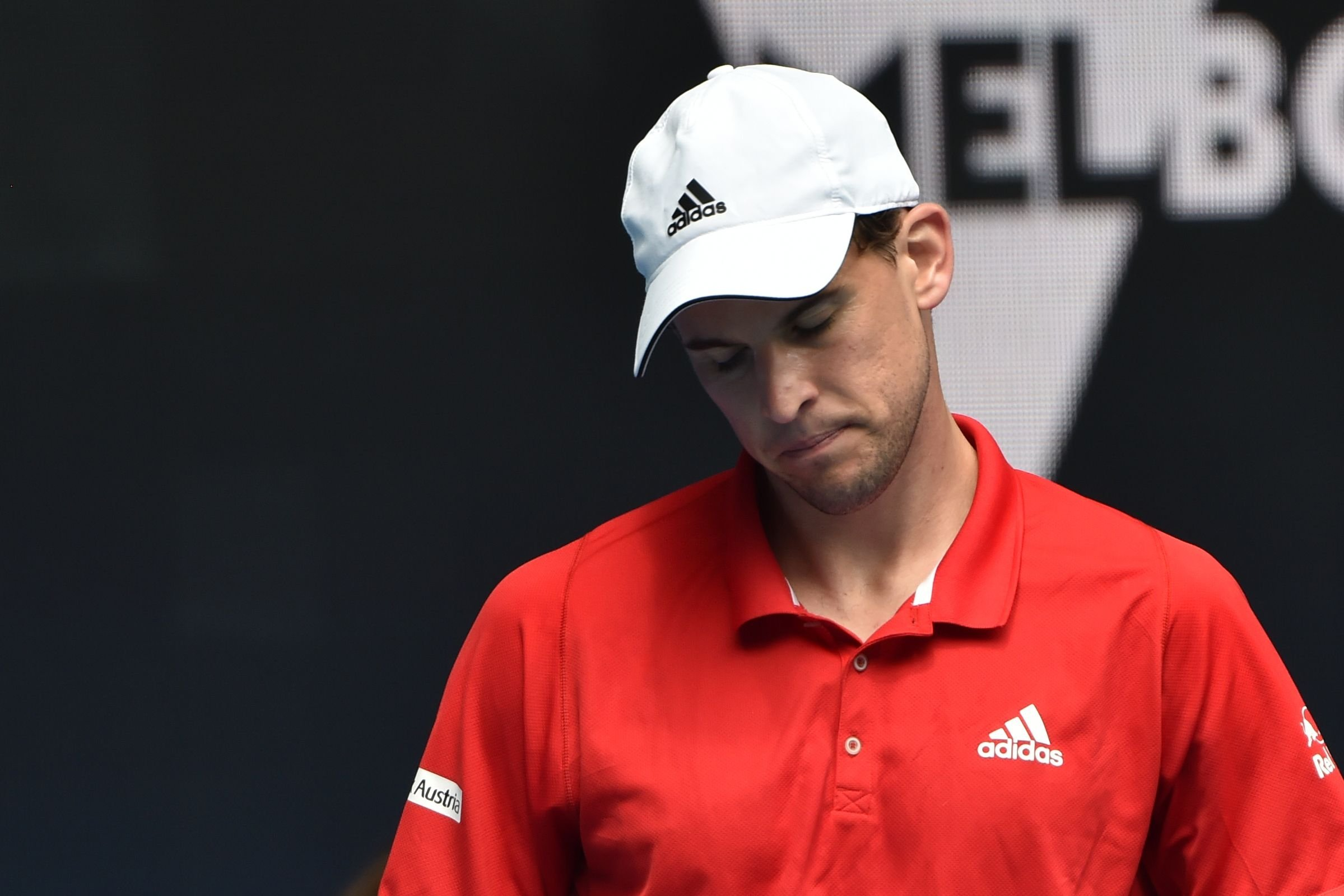 Austria's Dominic Thiem reacts during his group C match at the 2021 ATP Cup against Italy's Matteo Berrettini, Melbourne, Australia, Feb. 2, 2021. (AFP Photo)