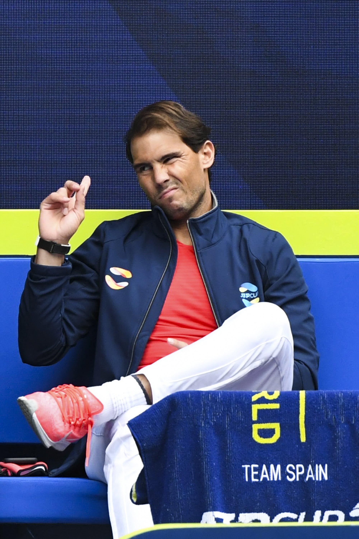 Rafael Nadal watches the Round 1 ATP Cup match between Spain's Pablo Carreno Spain and Australia's John Millman at Melbourne Park, Melbourne, Australia, Feb. 2, 2021. (EPA Photo)
