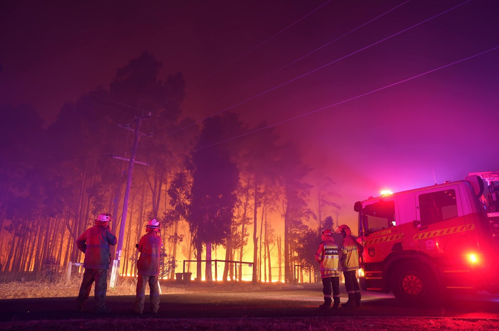 Firefighters attend a fire at Wooroloo, near Perth, Australia, Feb. 1, 2021. (AP Photo)