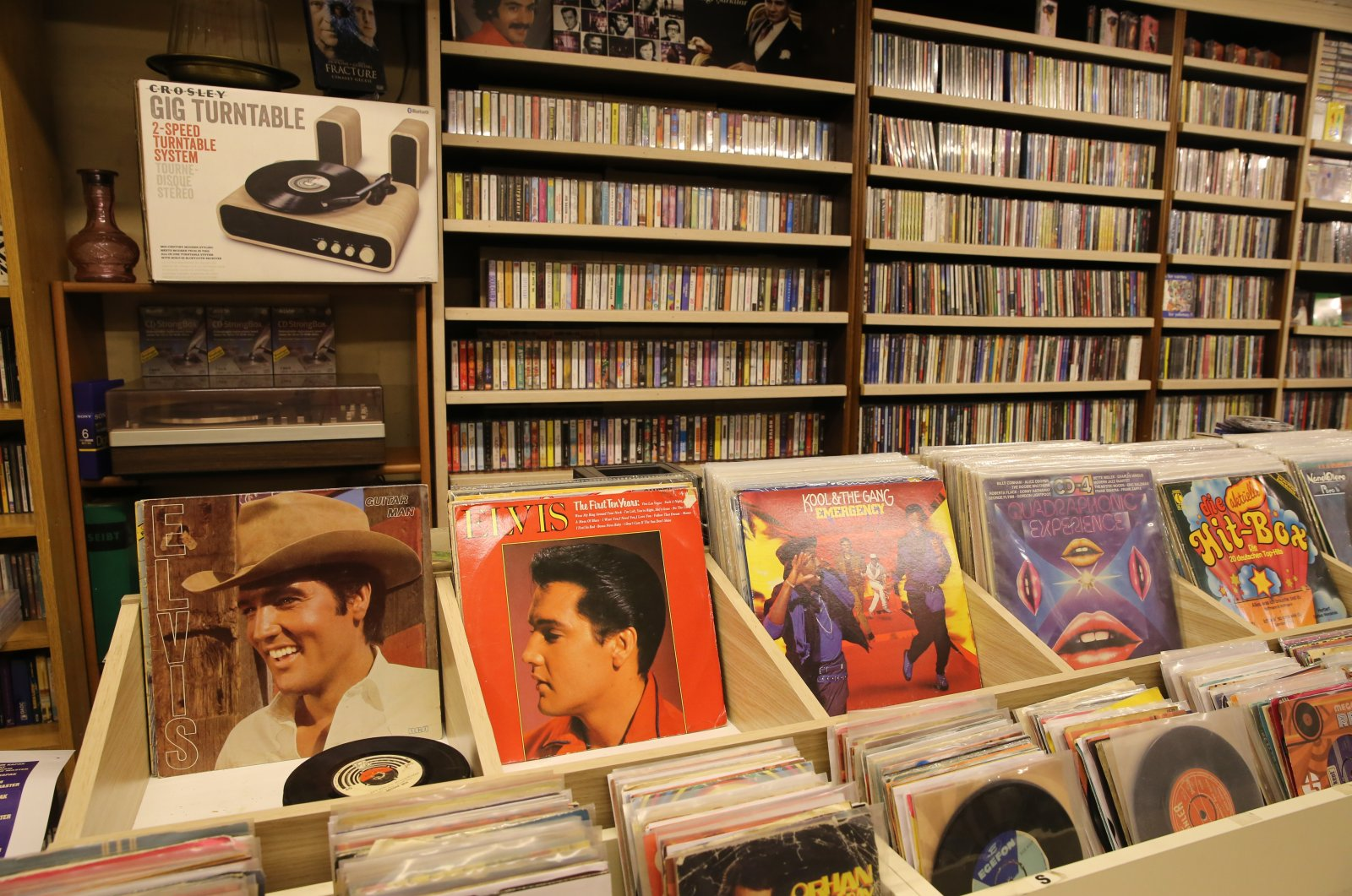 Renowned artists' cassettes and records in a shop at the Unkapanı record sellers' bazaar in Istanbul, Turkey, Feb. 2, 2021. (AA PHOTO)