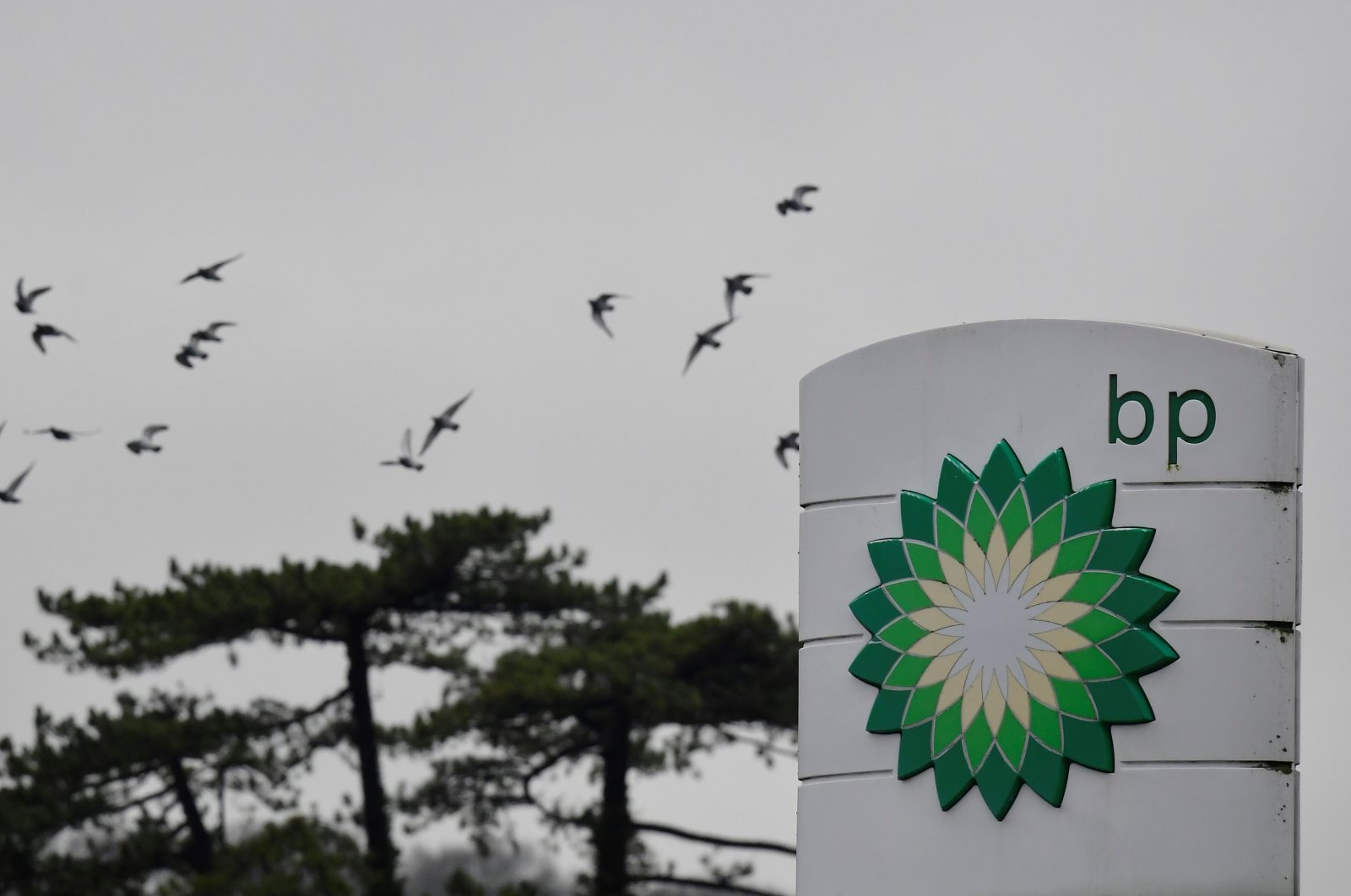 Signage is seen for BP at a service station near Brighton, Britain, on Jan. 30, 2021. (Reuters Photo)