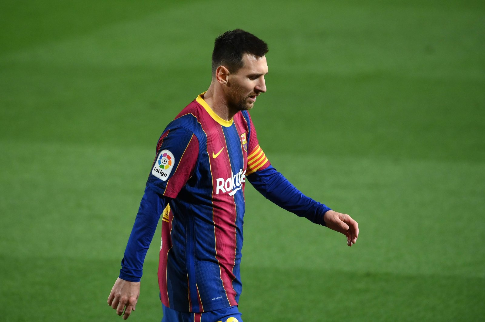 Barcelona forward Lionel Messi during a match against Athletic Club Bilbao at the Camp Nou, Barcelona, Jan. 31, 2021. (AFP Photo)