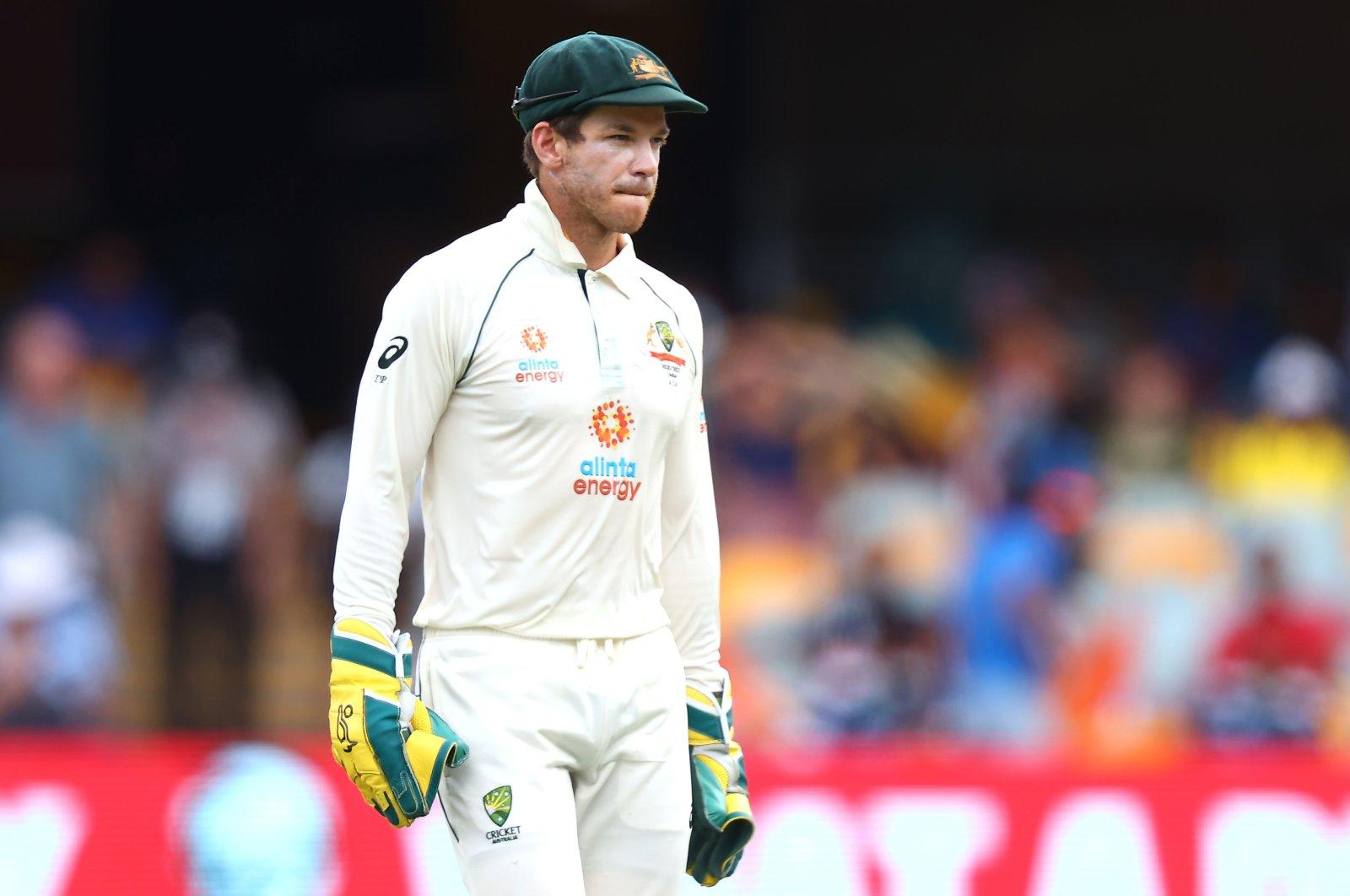 Australian captain Tim Paine looks on during a Test match against India at The Gabba, Brisbane, Australia, Jan. 19, 2021. (AFP Photo)