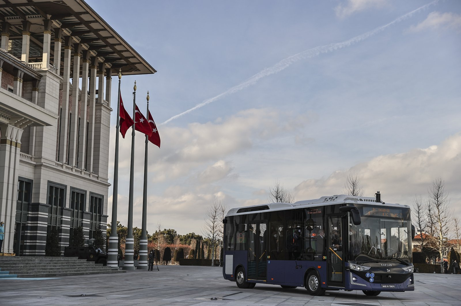 Turkey's first driverless electric bus is tested by President Recep Tayyip Erdoğan in Beştepe Presidential Complex in the capital Ankara, Turkey, Feb. 1, 2021. (AA Photo)