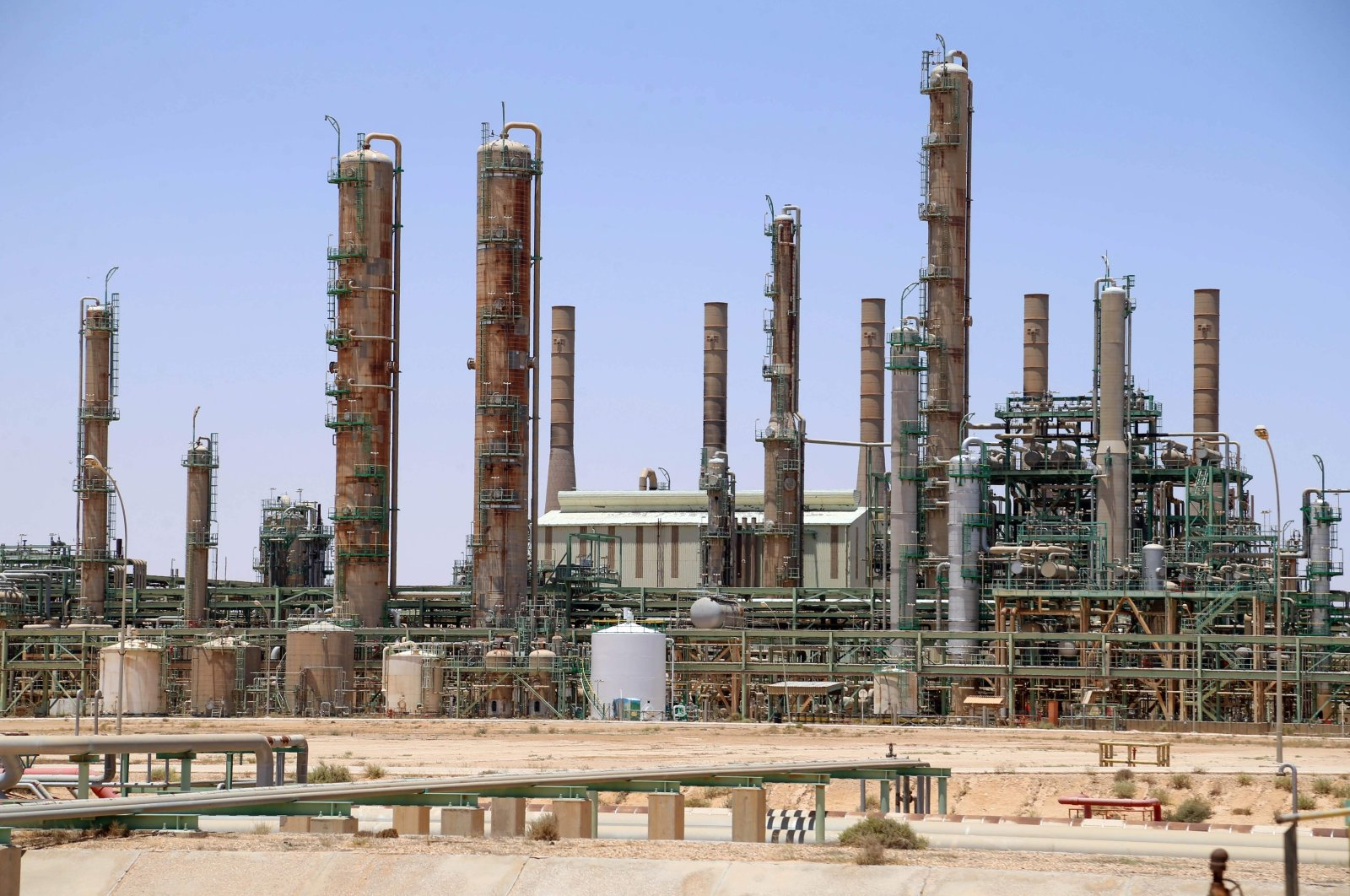 This file photo taken on June 3, 2020 shows an oil refinery in Libya's northern town of Ras Lanuf. (AFP Photo)