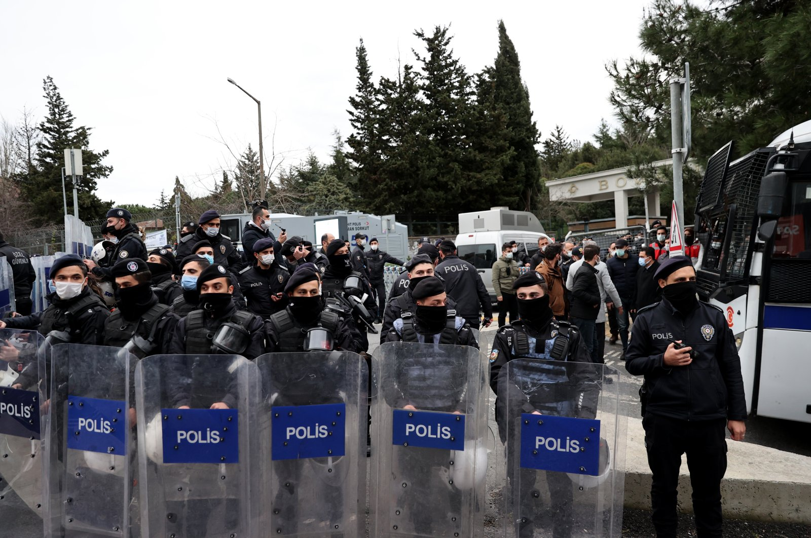Riot police stand guard outside the entrance of Boğaziçi University, in Istanbul, Turkey, Feb. 2, 2021. (AA PHOTO)