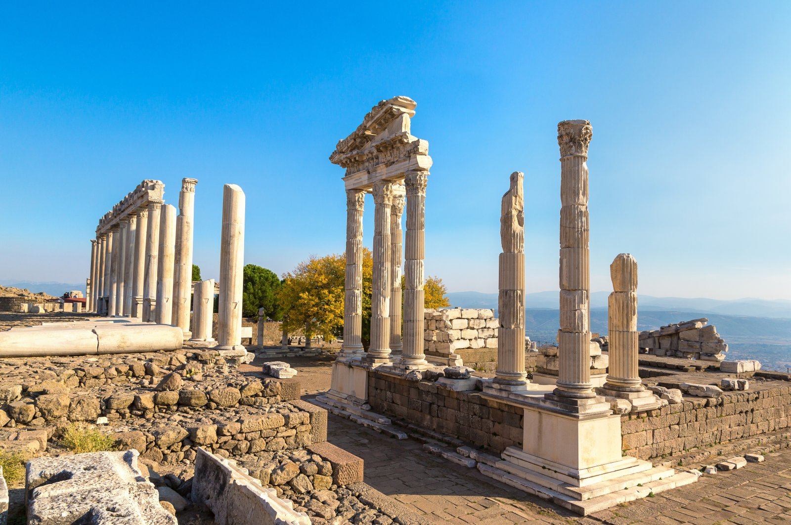 Temple of Trajan in the acropolis of the ancient city Pergamon, Izmir, western Turkey. (Shutterstock Photo)