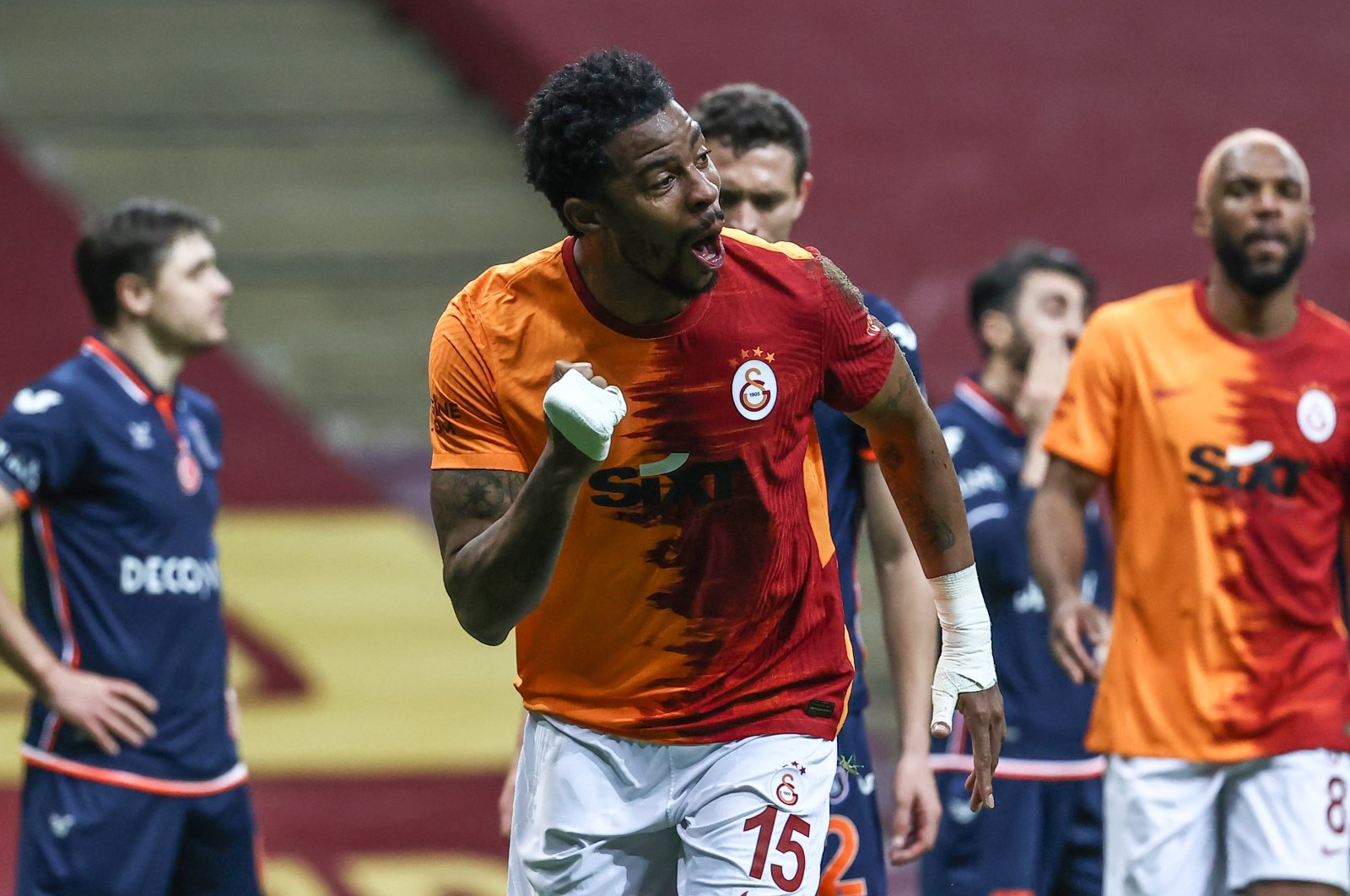 Galatasaray's Ryan Donk celebrates after scoring a goal in the match against Istanbul Başakşehir at the Ali Sami Yen Sports Complex on Feb. 2, 2021. (AA Photo)