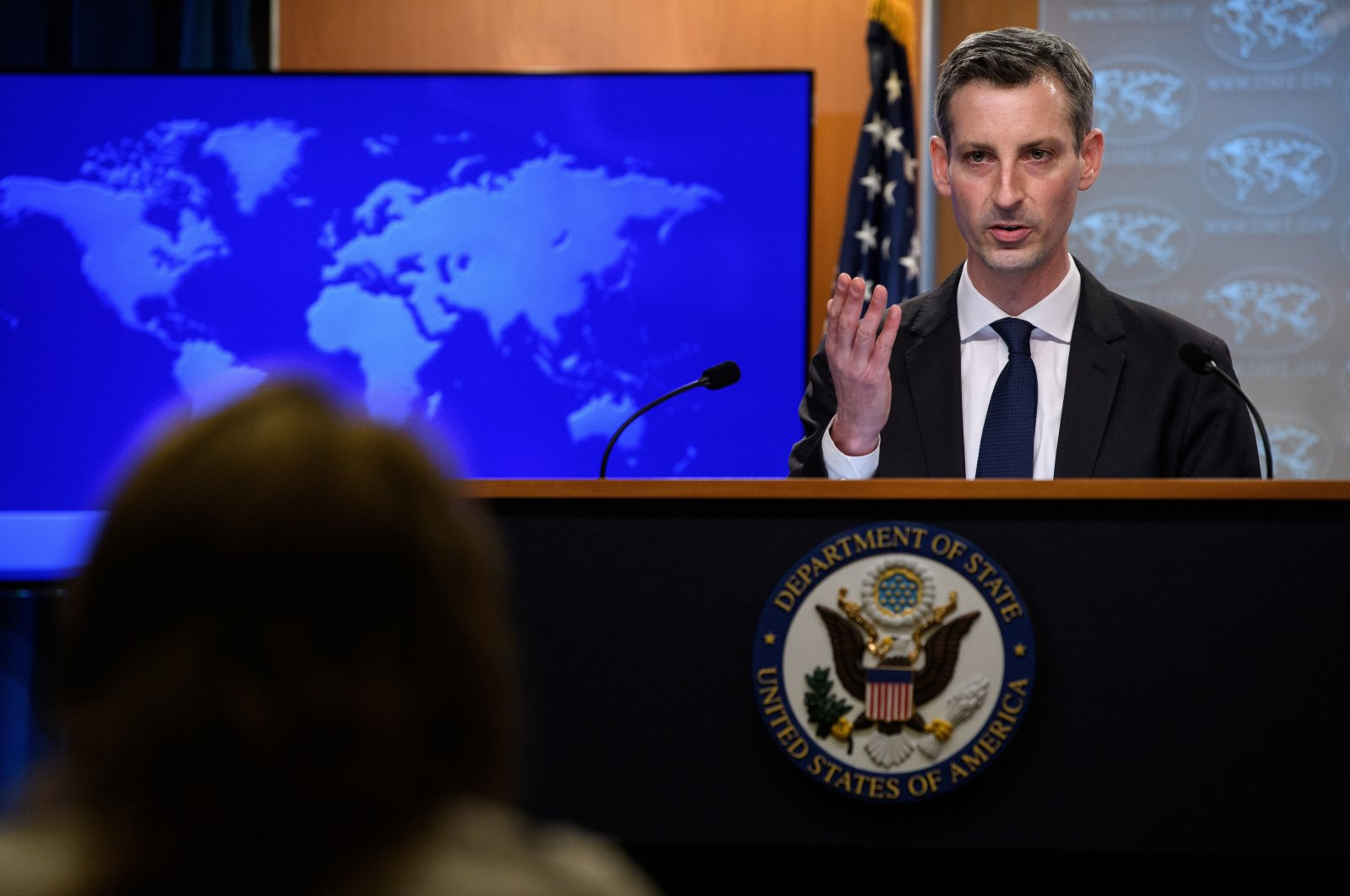 U.S. State Department spokesperson Ned Price speaks at his first daily press briefing at the State Department in Washington, U.S. on Feb. 2, 2021. (Reuters Photo)