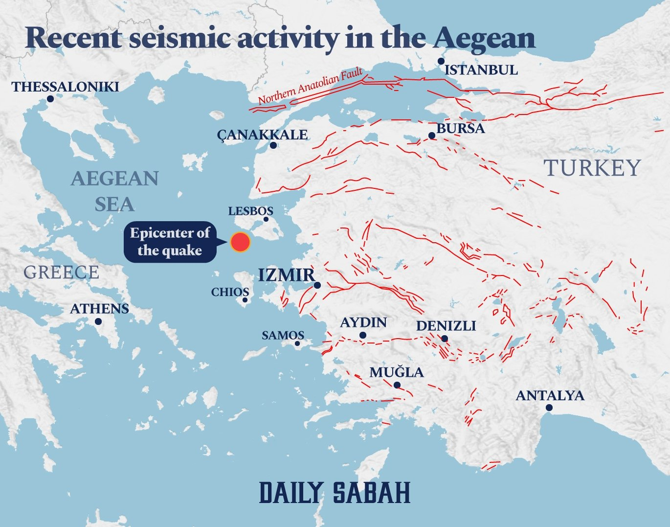 An infographic showing fault lines (in red) at and near Izmir. (BY AYLA COŞKUN / DAILY SABAH)
