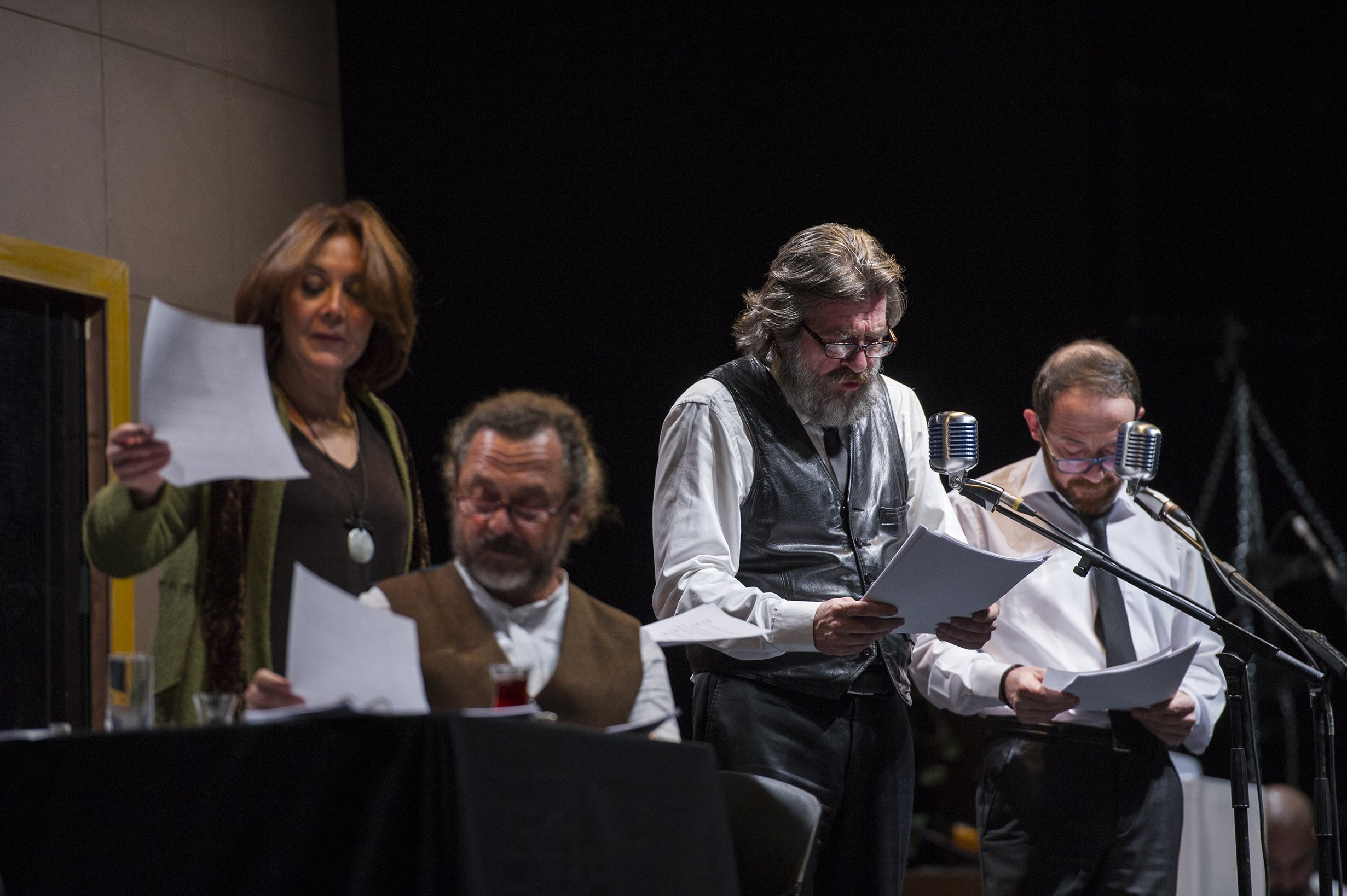 "From left to right, Tilbe Saran, Bülent Emin Yarar, Metin Belgin and Hakan Gerçek will narrate Haltun Taner's stories in ""Human, Just a Tool."