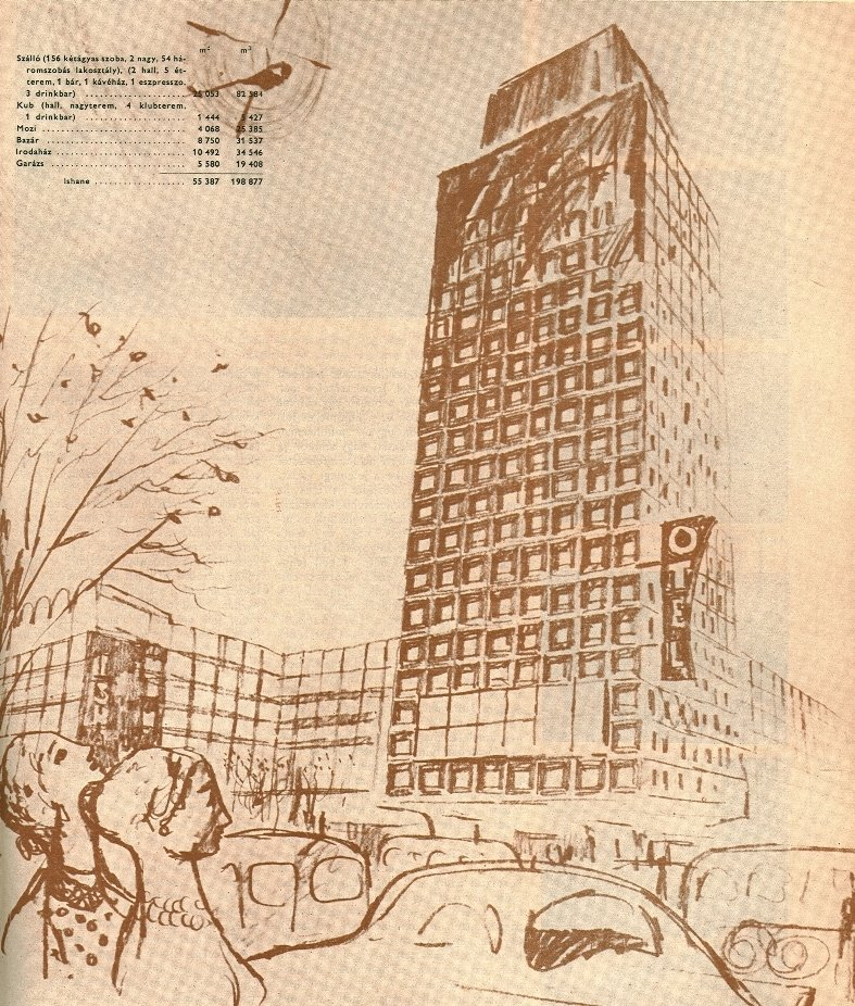 The Işhane apartment and office building project for Ankara's Ulus quarter by LAKOTERV, comprised of Istvan Janaky, Jozsef Körner, Peter Molnar, Antal Vass and Istvan Zilahy, in 1957.
