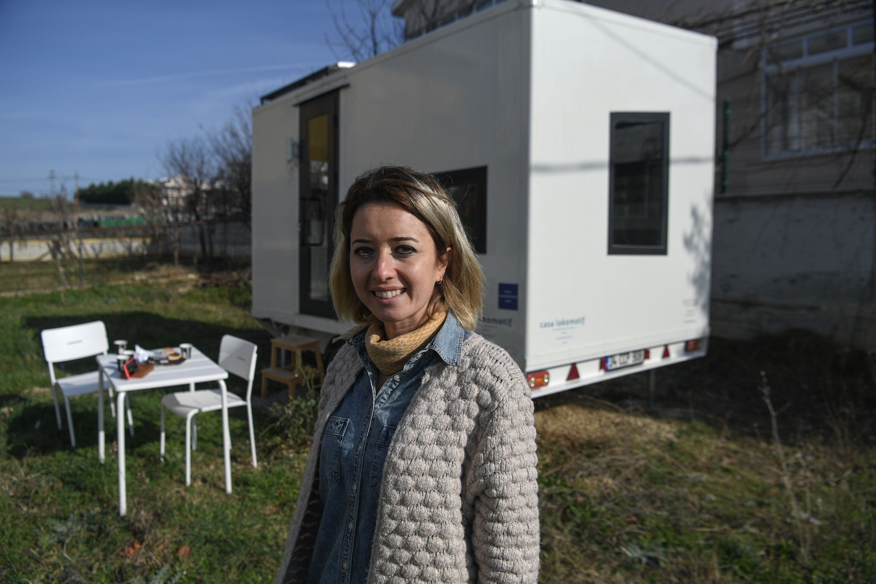 Pelin Düştegör, the owner of the brand Casa Lokomotif, poses for a photograph in the Silivri district of Istanbul, Turkey, Jan. 21, 2021. (AFP Photo)