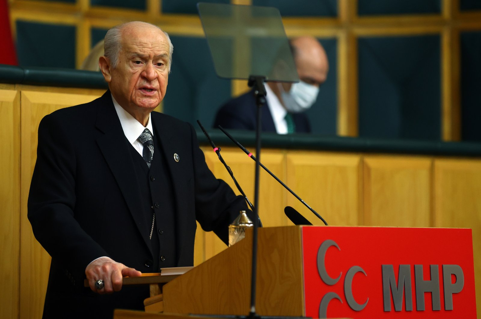 Nationalist Movement Party (MHP) Chairperson Devlet Bahçeli speaks at his party's Parliamentary Group meeting at the Turkish Parliament on Jan. 26, 2021. (AA Photo)