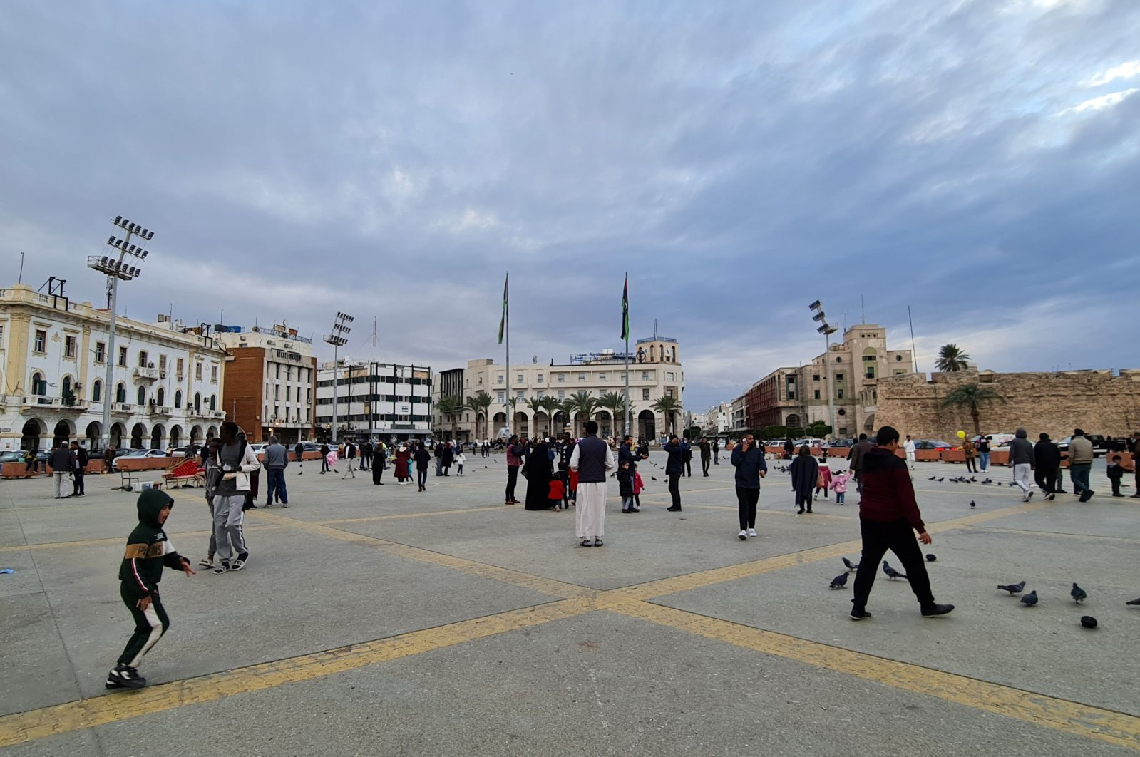 Libyans gather at Martyrs' Square in the capital Tripoli, on Feb. 1, 2021. (AFP Photo)