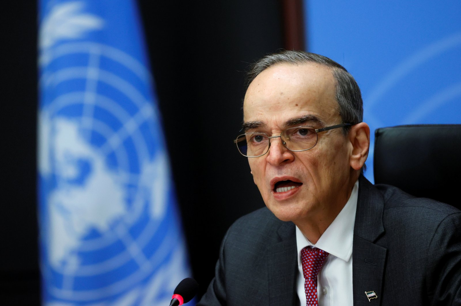 Hadi al-Bahra, co-chair for the Syrian opposition, attends a news conference after a meeting of the Syrian Constitutional Committee at the United Nations in Geneva, Switzerland, Jan. 29, 2021. (Reuters Photo)