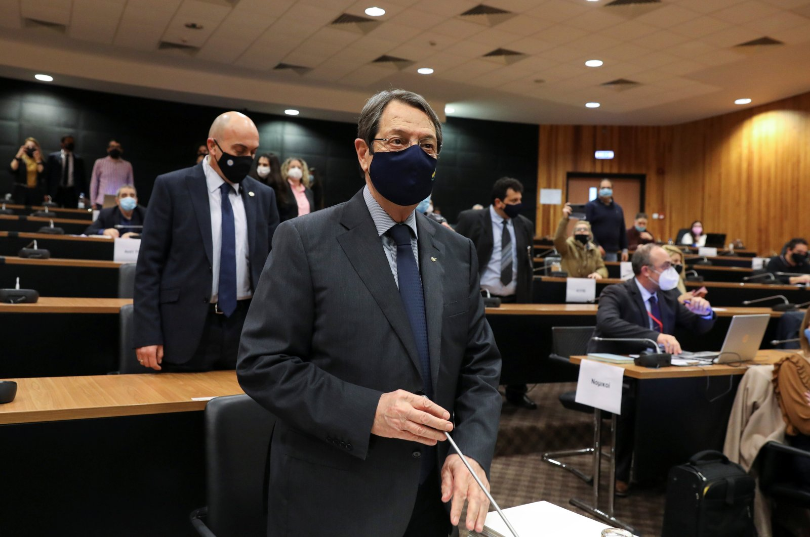 """Greek Cypriot administration's leader Nicos Anastasiades prepares to testify during a deposition to the investigating committee on the """"golden passport"""" scheme in Nicosia, Greek Cyprus, Feb. 12, 2021. (Reuters Photo)"""