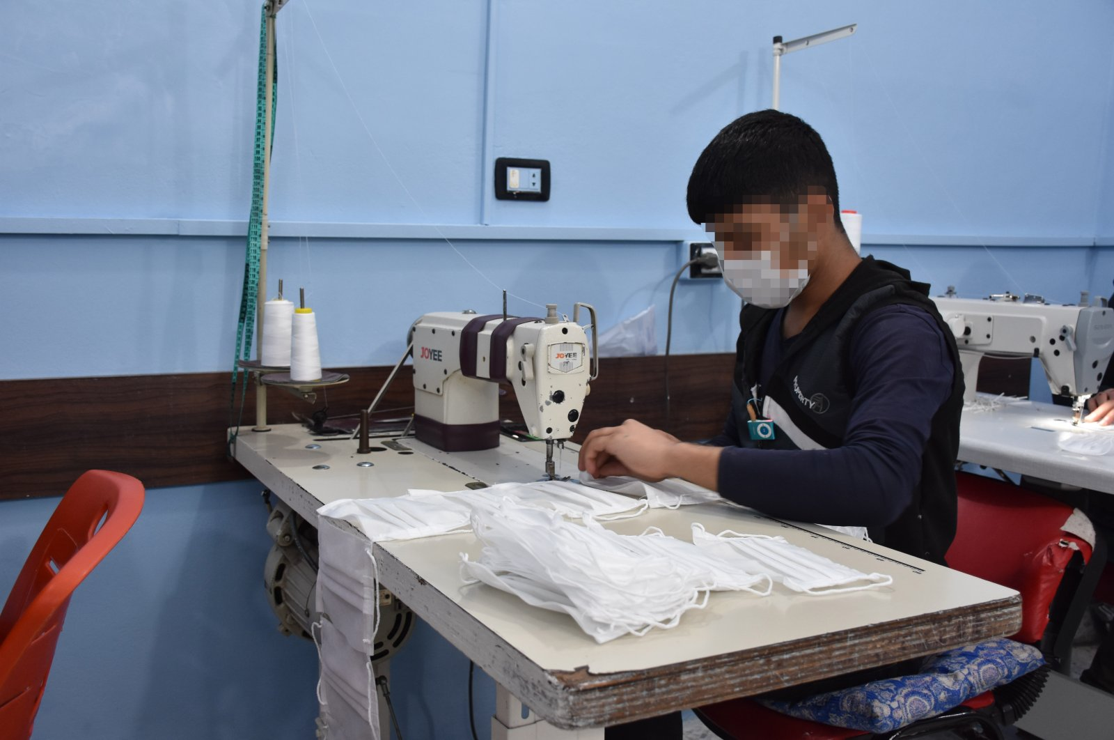 An association of Turks living in the Netherlands and the Turkish Youth and Sports ministry established a shoe-making and tailoring atelier in Syria's north, Feb. 3, 2021. (AA Photo)
