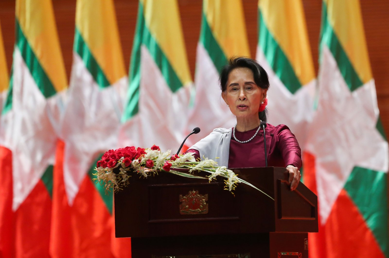 Myanmar's leader Aung San Suu Kyi delivers a national address in Naypyidaw, Myanmar, Sept. 19, 2017. (AFP Photo)