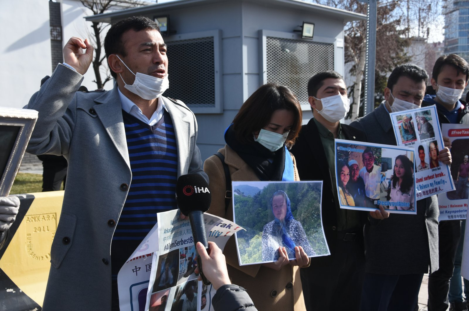 A group of Uighurs protest in front of the Chinese embassy asking for their missing relatives, Istanbul, on Feb. 3, 2021. (AA Photo)