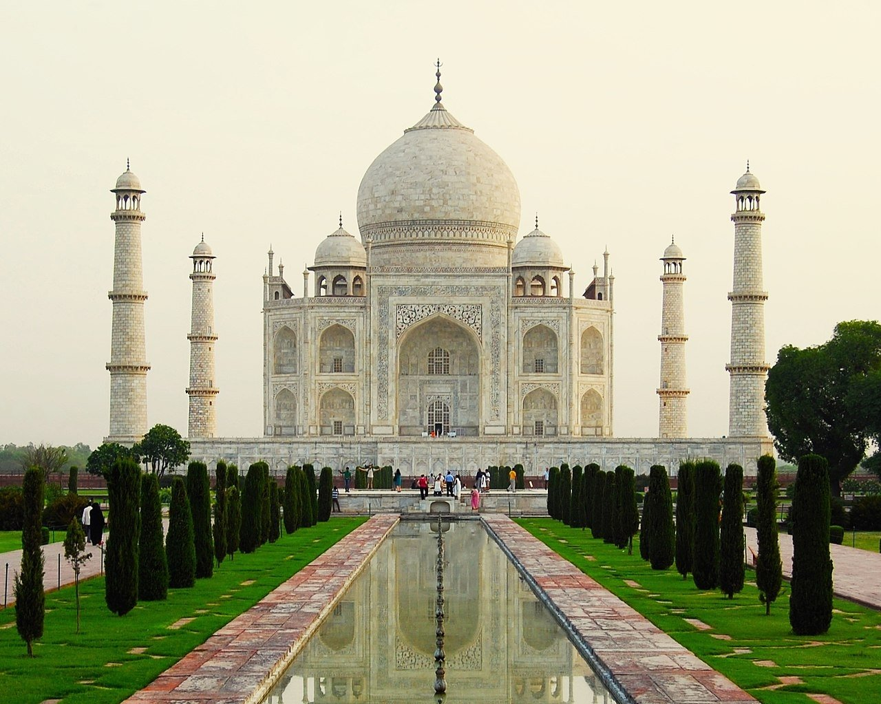 An exterior view of India's Taj Mahal, one of the most important works of Islamic mausoleum architecture.