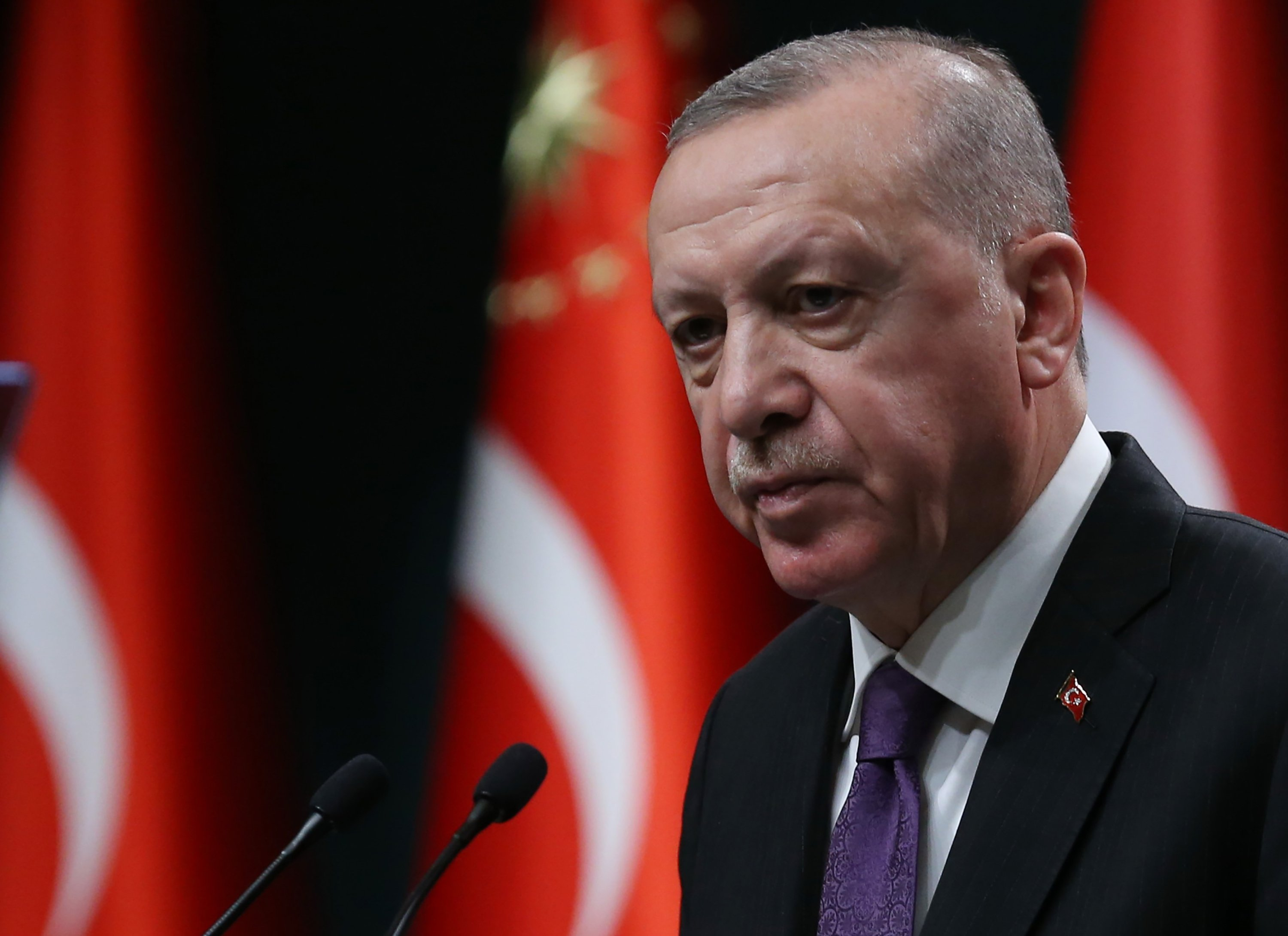 President Recep Tayyip Erdoğan makes a speech as he holds a press conference following the Cabinet meeting at the Presidential Complex in Ankara, Turkey, Feb. 1, 2021. (AFP)