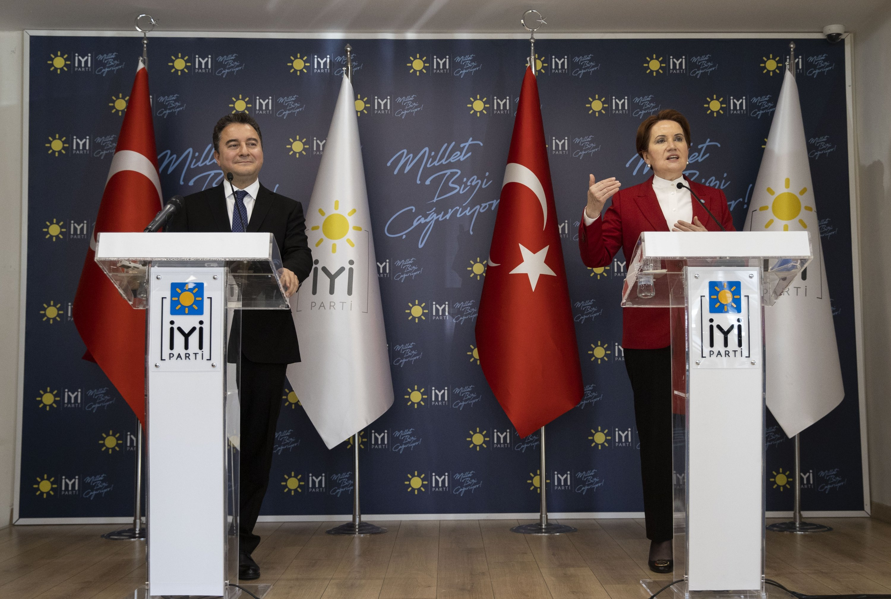 DEVA Chairman Ali Babacan and head of the IP Meral Akşener conduct a joint press conference following a meeting in Ankara, Turkey, Feb.4, 2021. (AA)