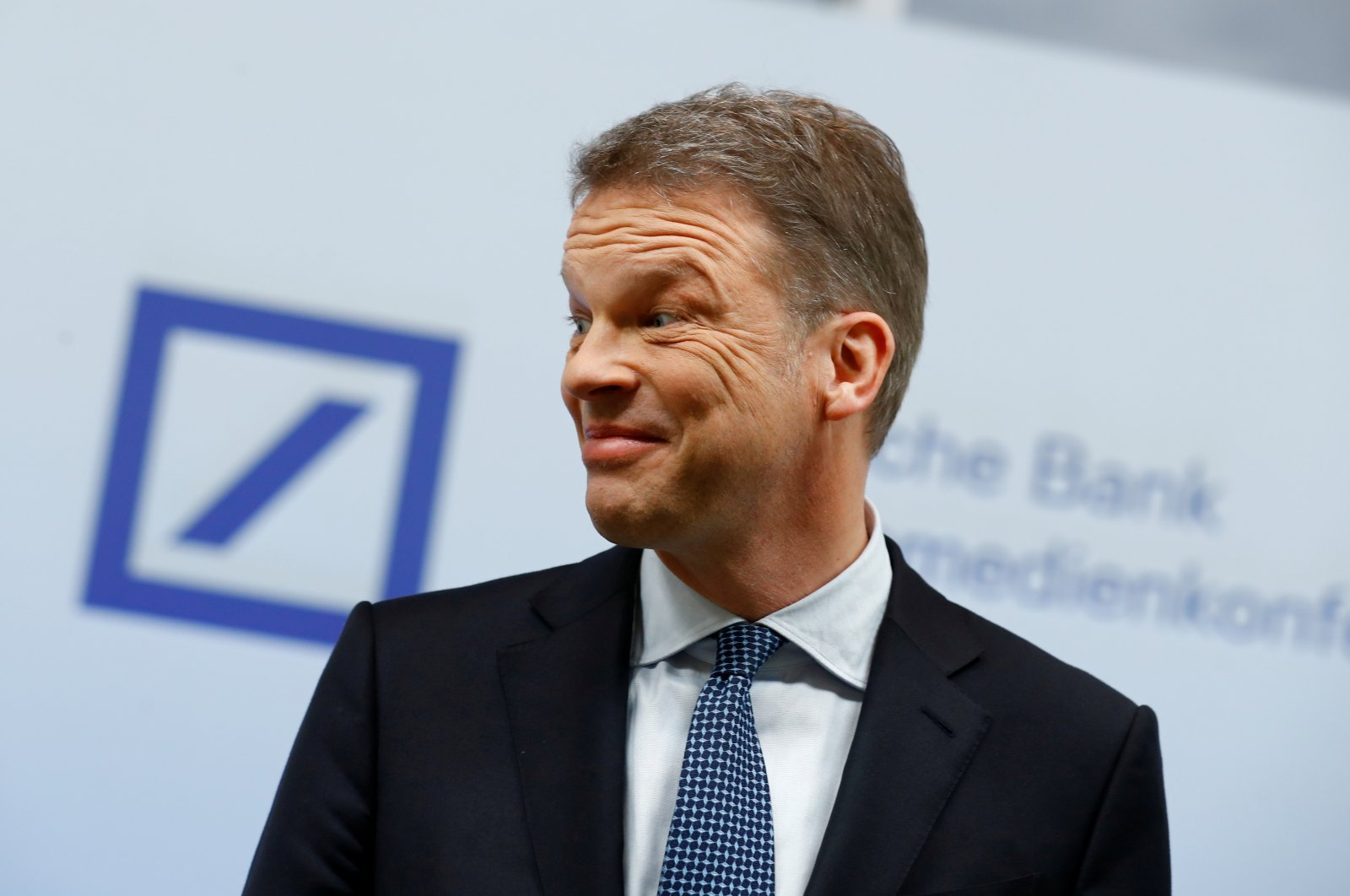 Christian Sewing, CEO of Deutsche Bank AG, arrives to address the media during the bank's annual news conference in Frankfurt, Germany, Jan. 30, 2020. (Reuters Photo)